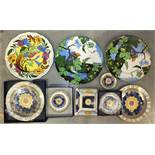 Three Royal Doulton plates decorated with birds and foliage together with various Royal Worcester '