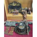 A papier-mâché chinoiserie letter rack, 24cm wide, other lacquered items, walking sticks and a