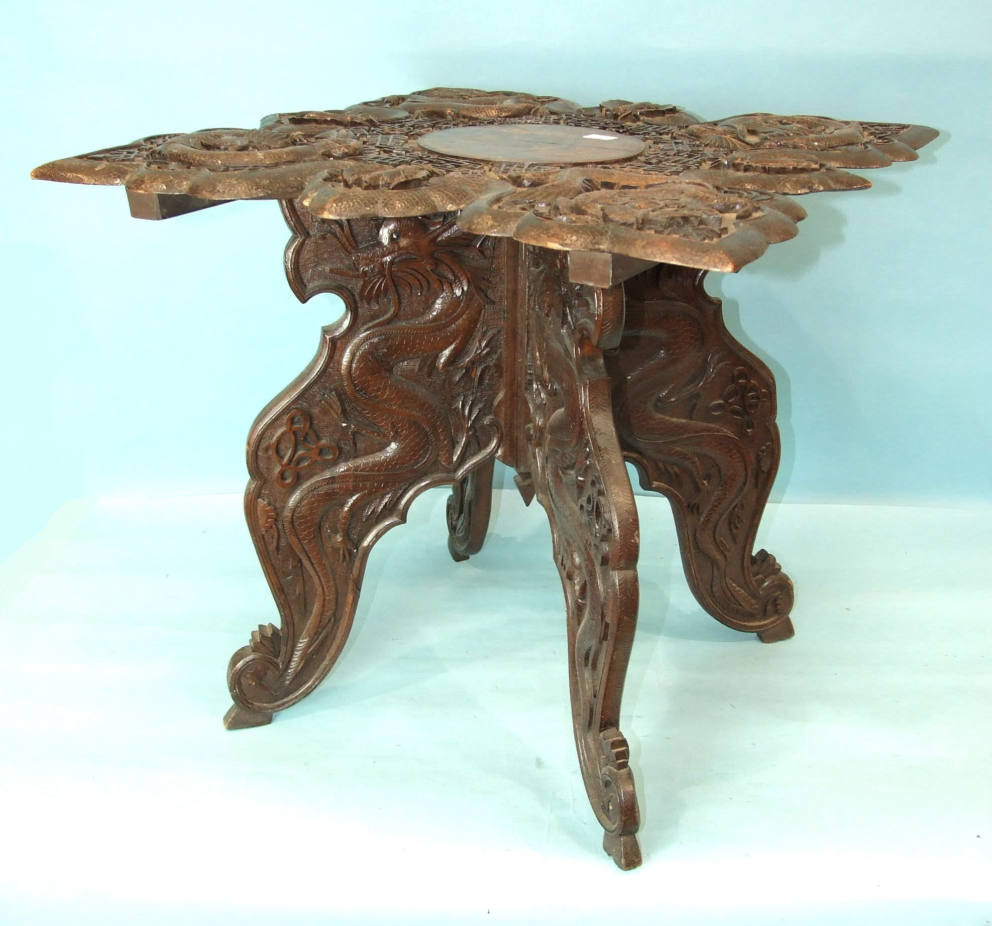 A Chinese carved wood occasional table decorated overall with dragons and characters, 60cm square, - Image 2 of 4