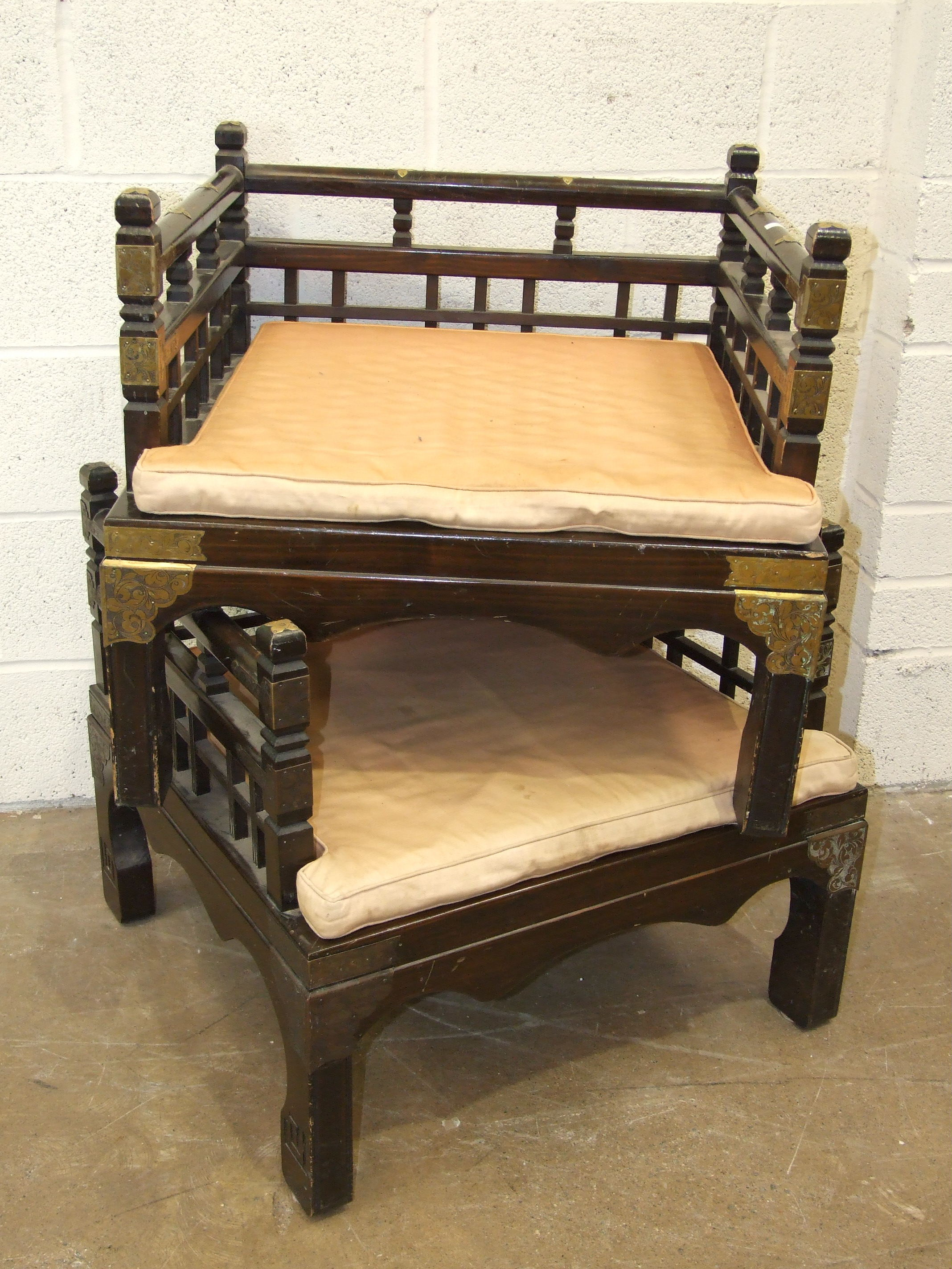 A pair of reproduction Oriental wood and metal-mounted low chairs of square form, with loose - Image 2 of 2