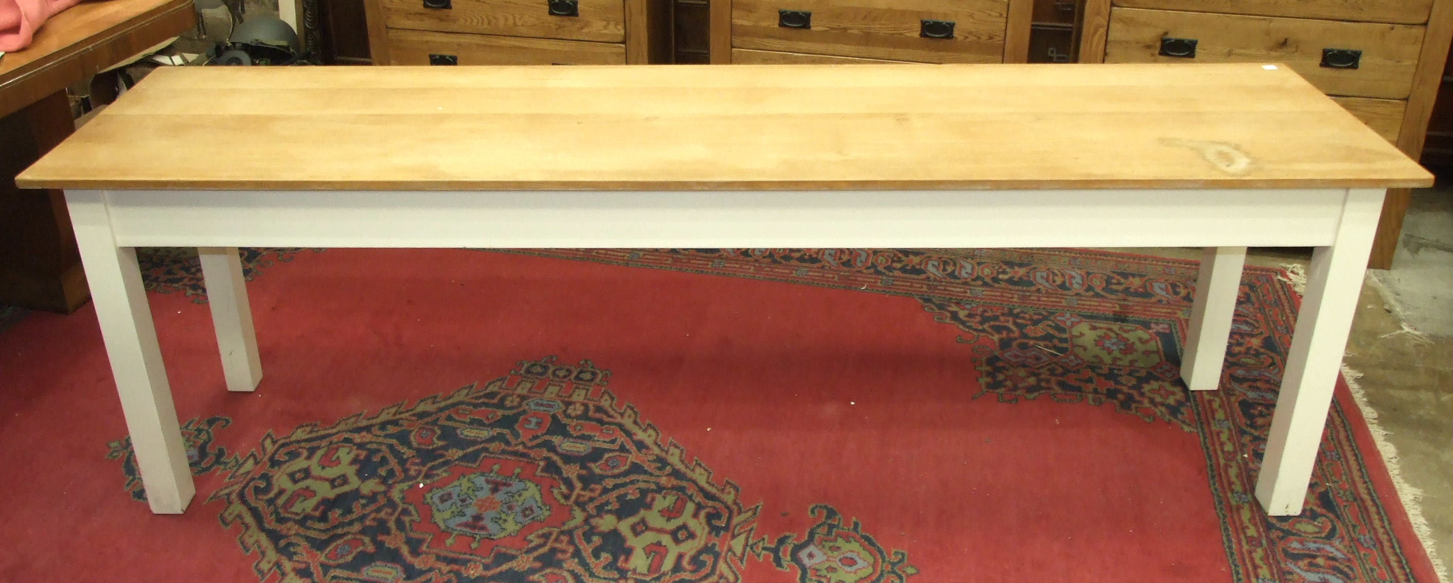 A modern painted wood long kitchen table, 60 x 245cm.
