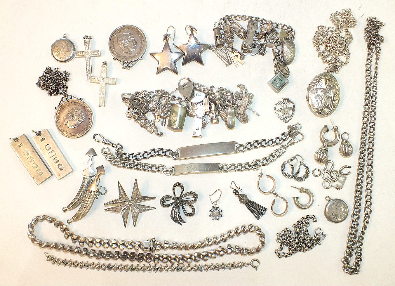 Lot 303 - Two silver charm bracelets, a silver rope-twist necklace and other silver jewellery, ___15oz