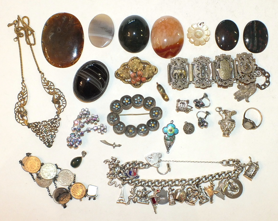 Lot 302 - A Charles Horner enamelled silver pendant, (a/f), an enamelled plated necklace, various agate