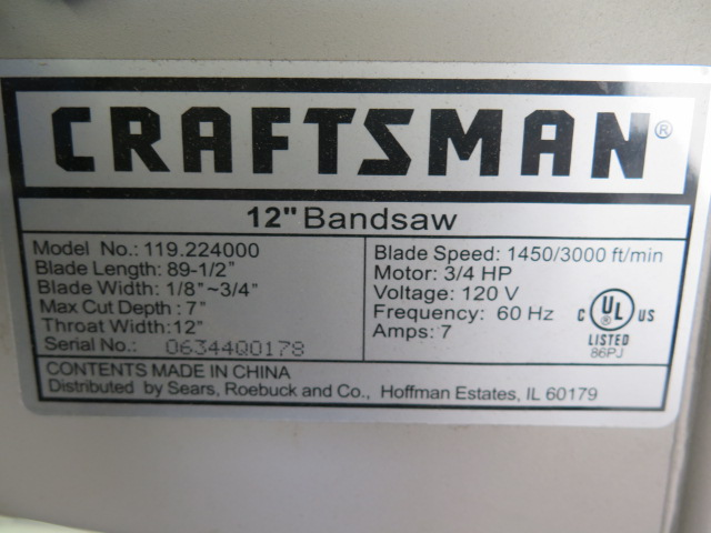 "Lot 56C - Craftsman mdl. 119,224000 12"" Vertical Band Saw w/ 16"" x 20 1/2"" Miter Table, Fence"