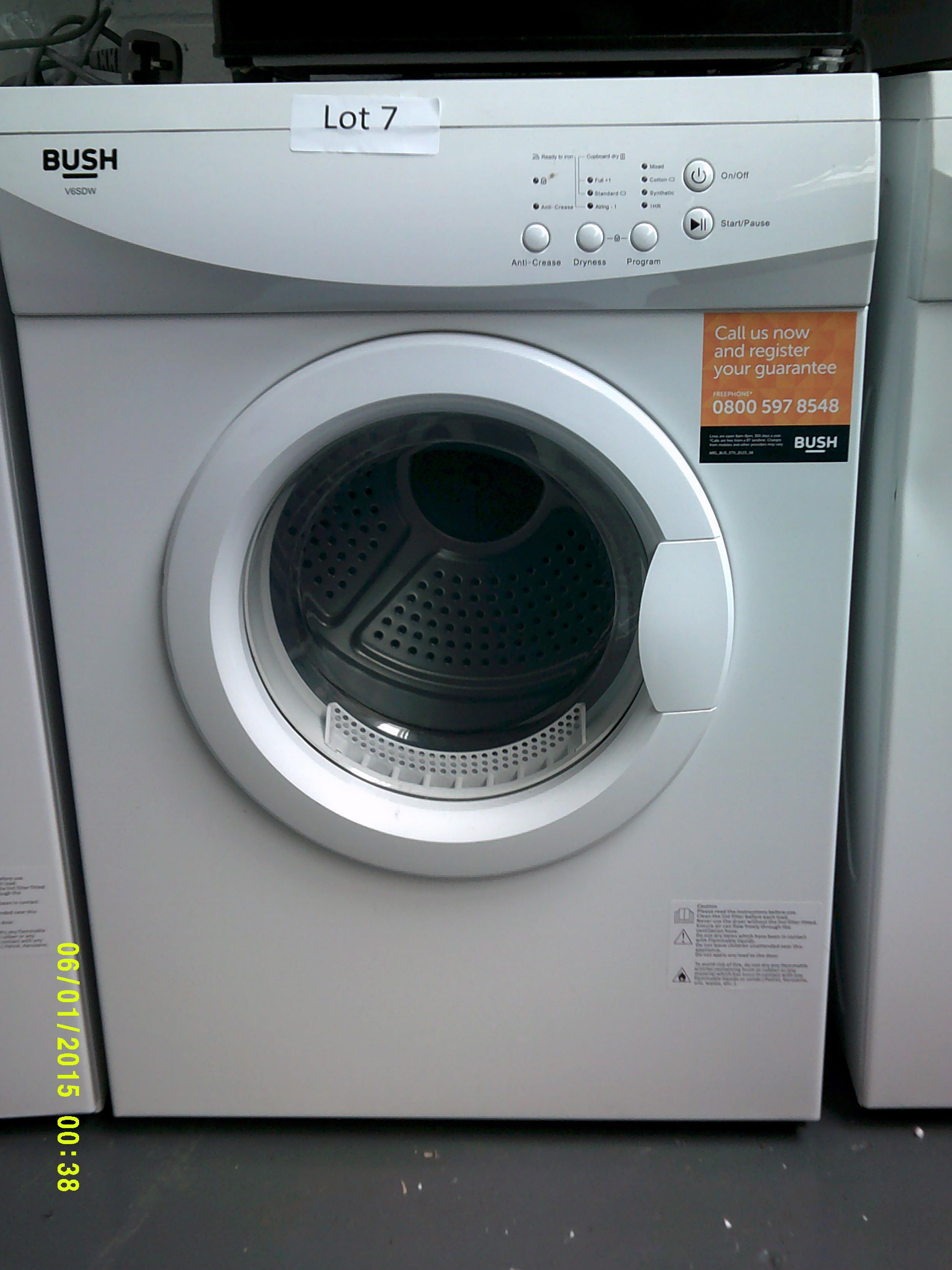 Lot 7 - Bush 6KG Tumble Dryer. Model Number V6DSW ORP £150 Customer Returns