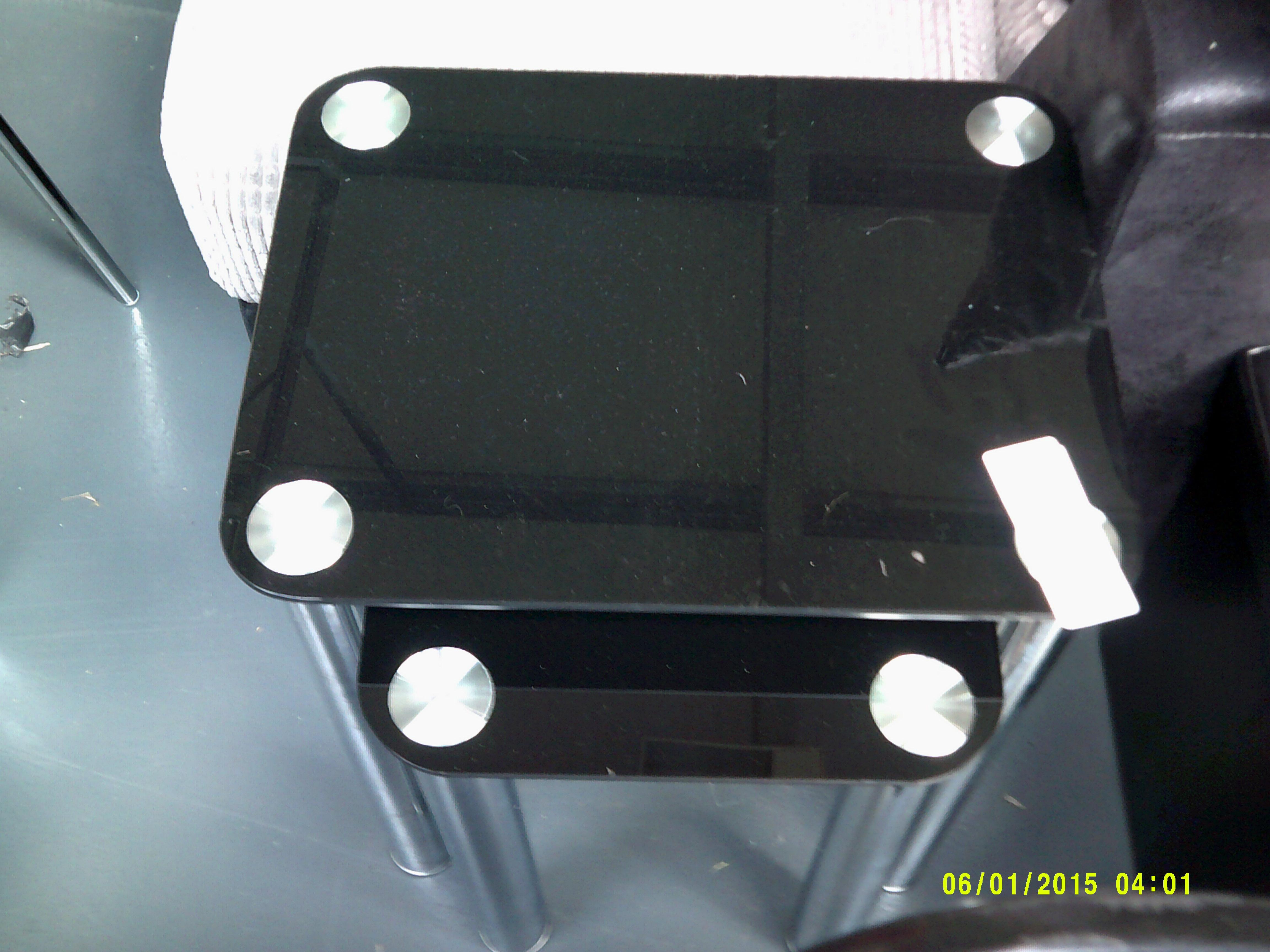Lot 49 - Nest of 2 Black Glass Tables Customer Returns