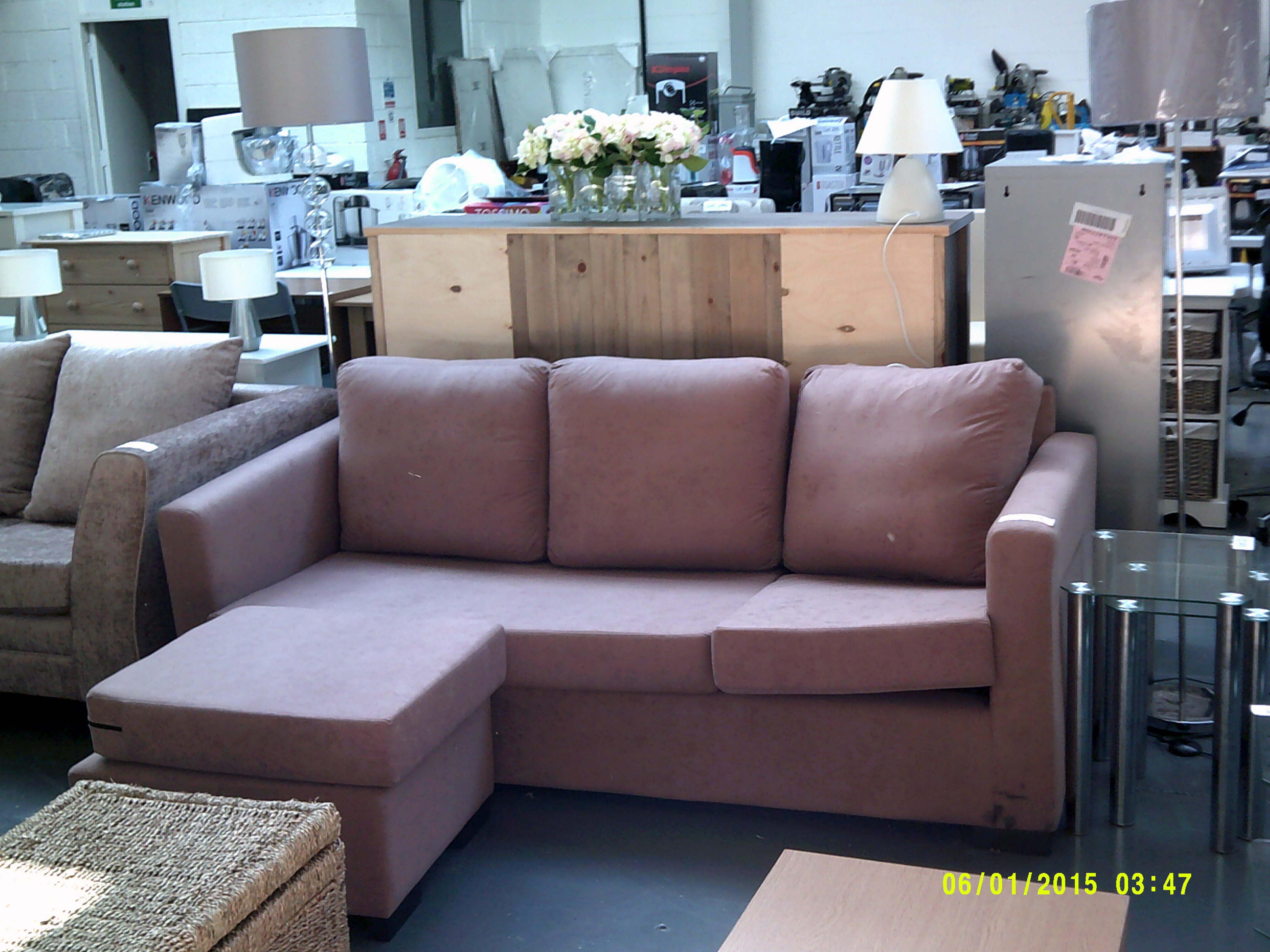 Lot 23 - 3 Seater Sofa with Foot Stool ORP £1429 Customer Returns