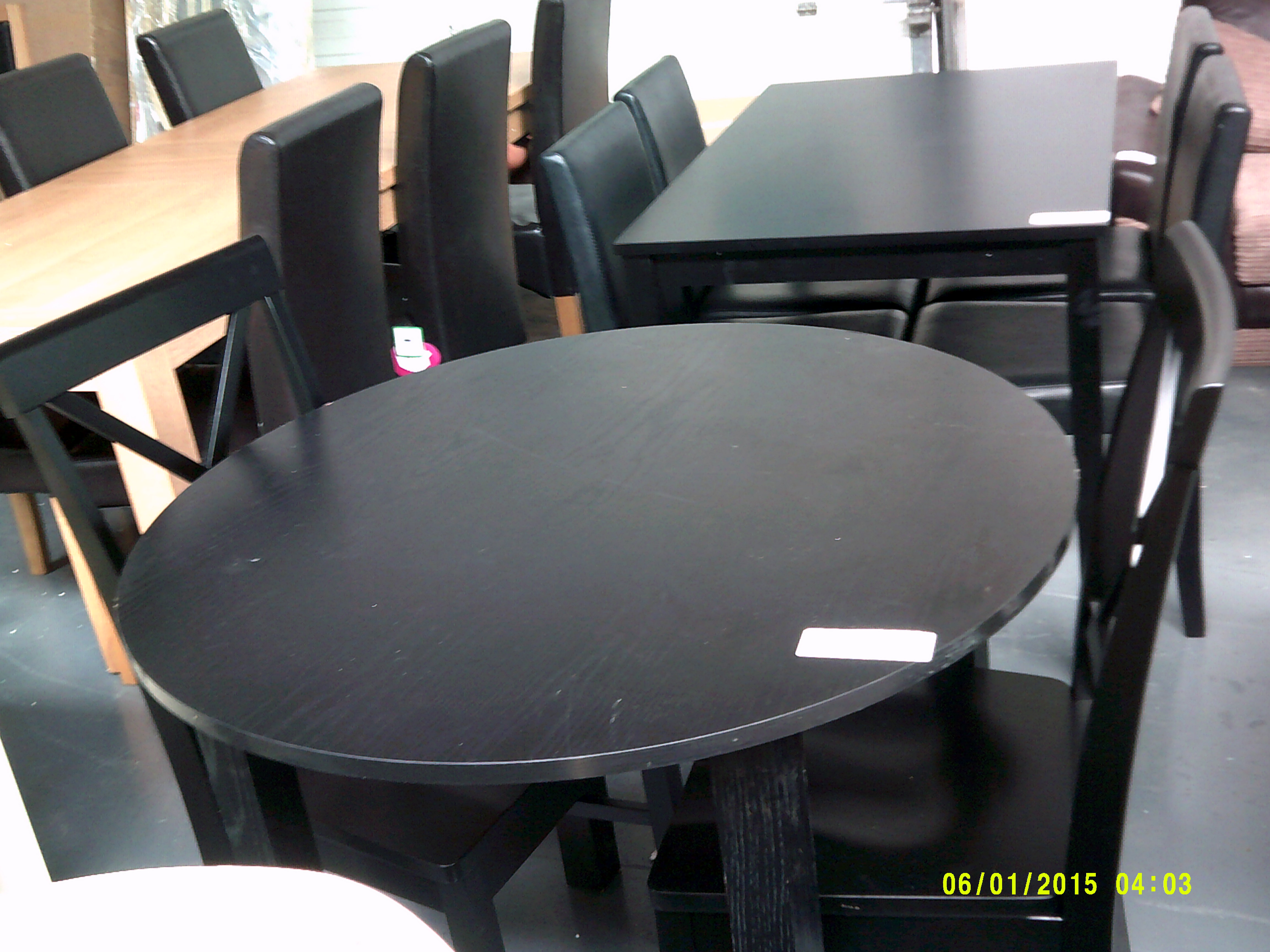 Lot 52 - Dining Black Table and 2 Cross Black Chairs Customer Returns