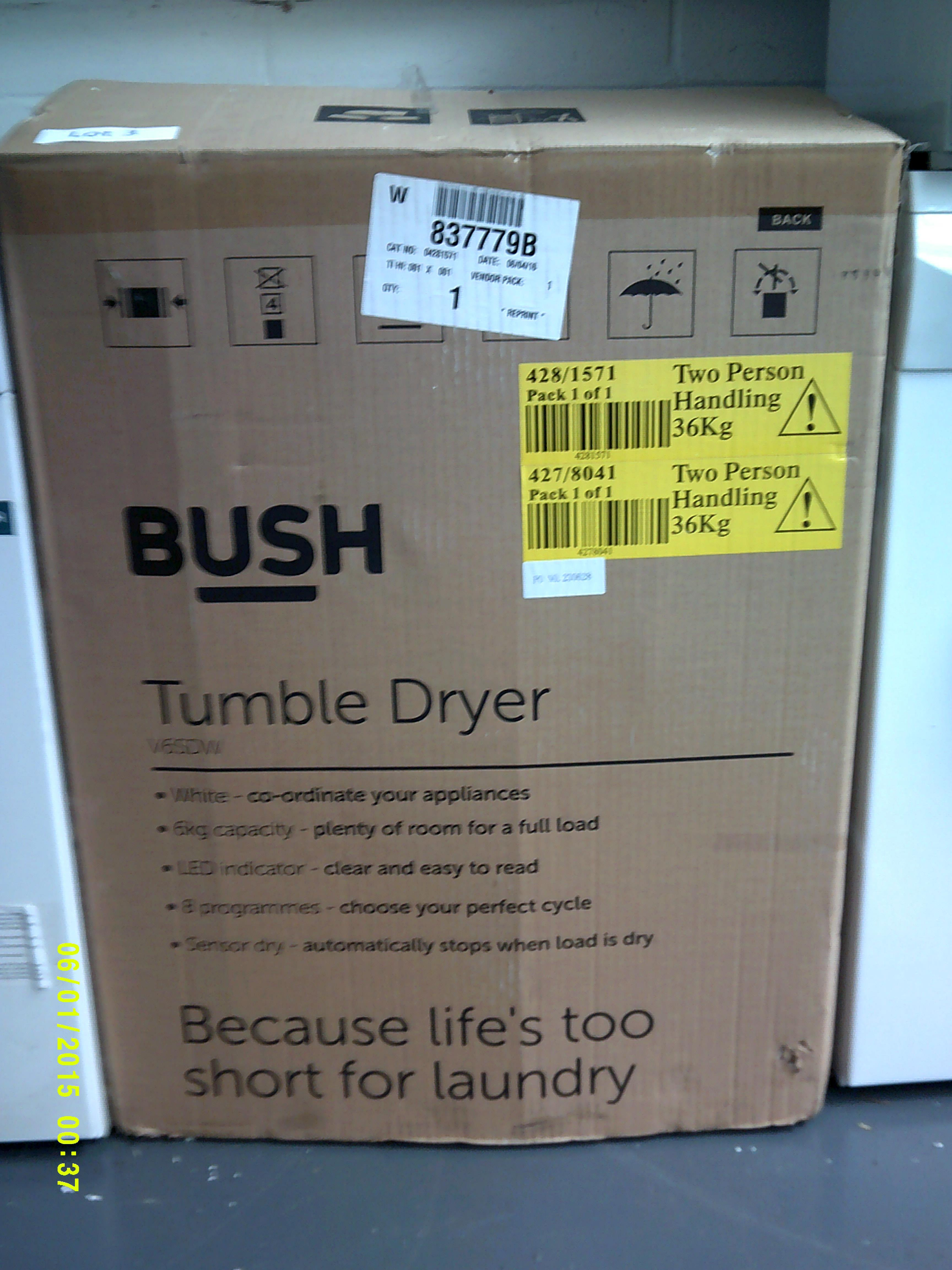 Lot 3 - Bush 6KG Tumble Dryer. Model Number V6DSW ORP £150 Customer Returns