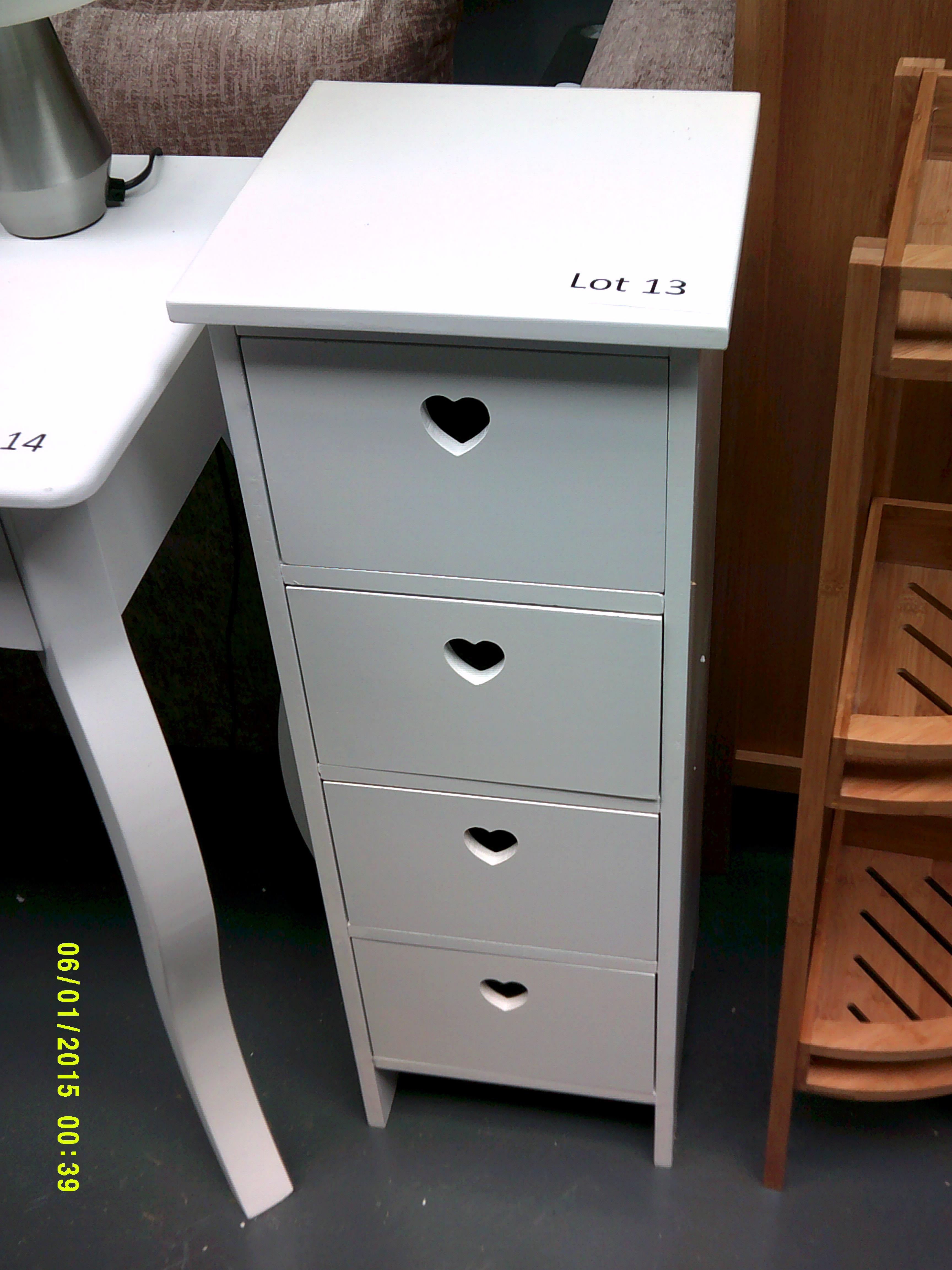 Lot 13 - White 4 Drawer Unit with Heart Detail Customer Returns