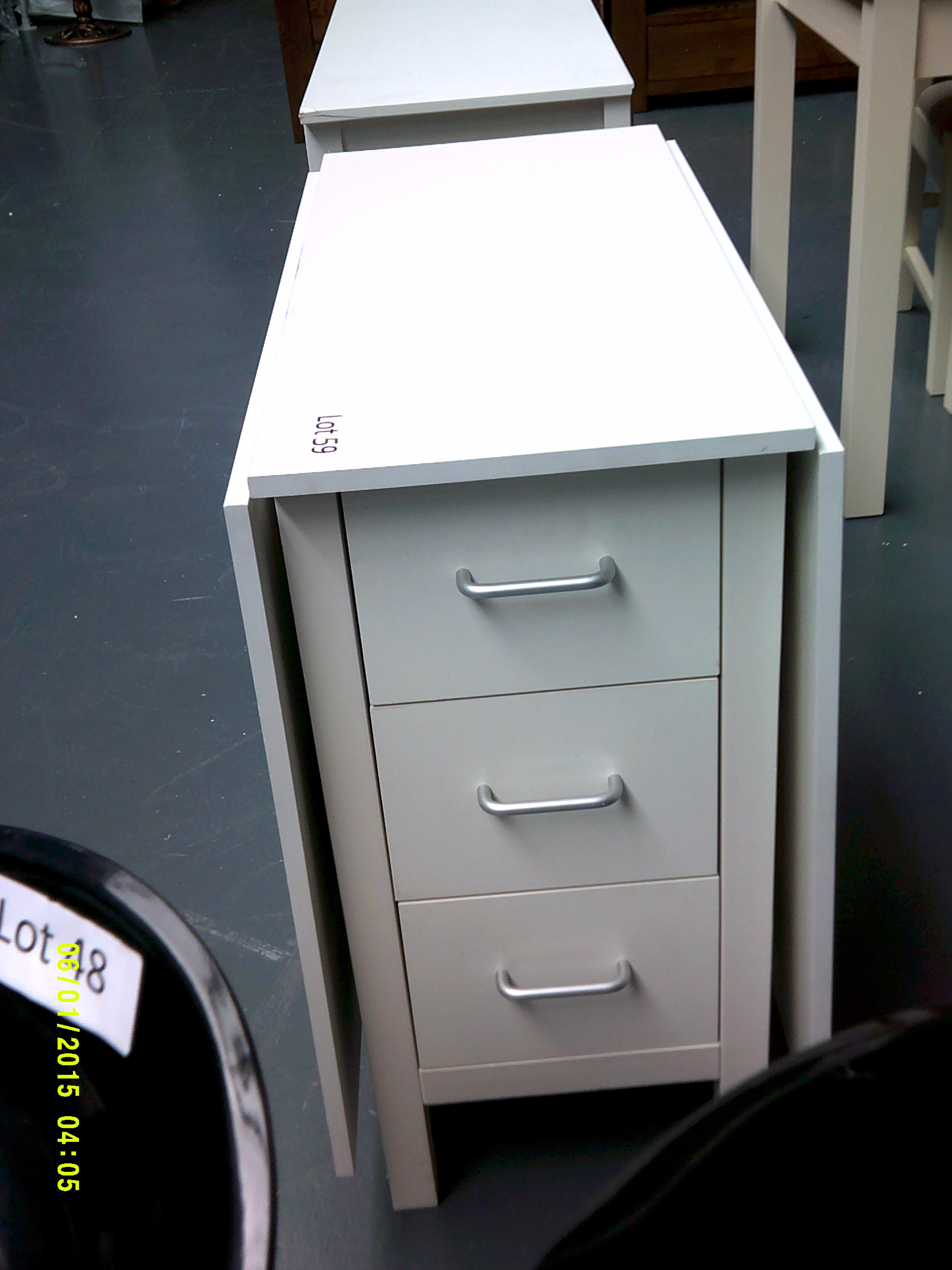 Lot 59 - White Folding table with Drawers Customer Returns