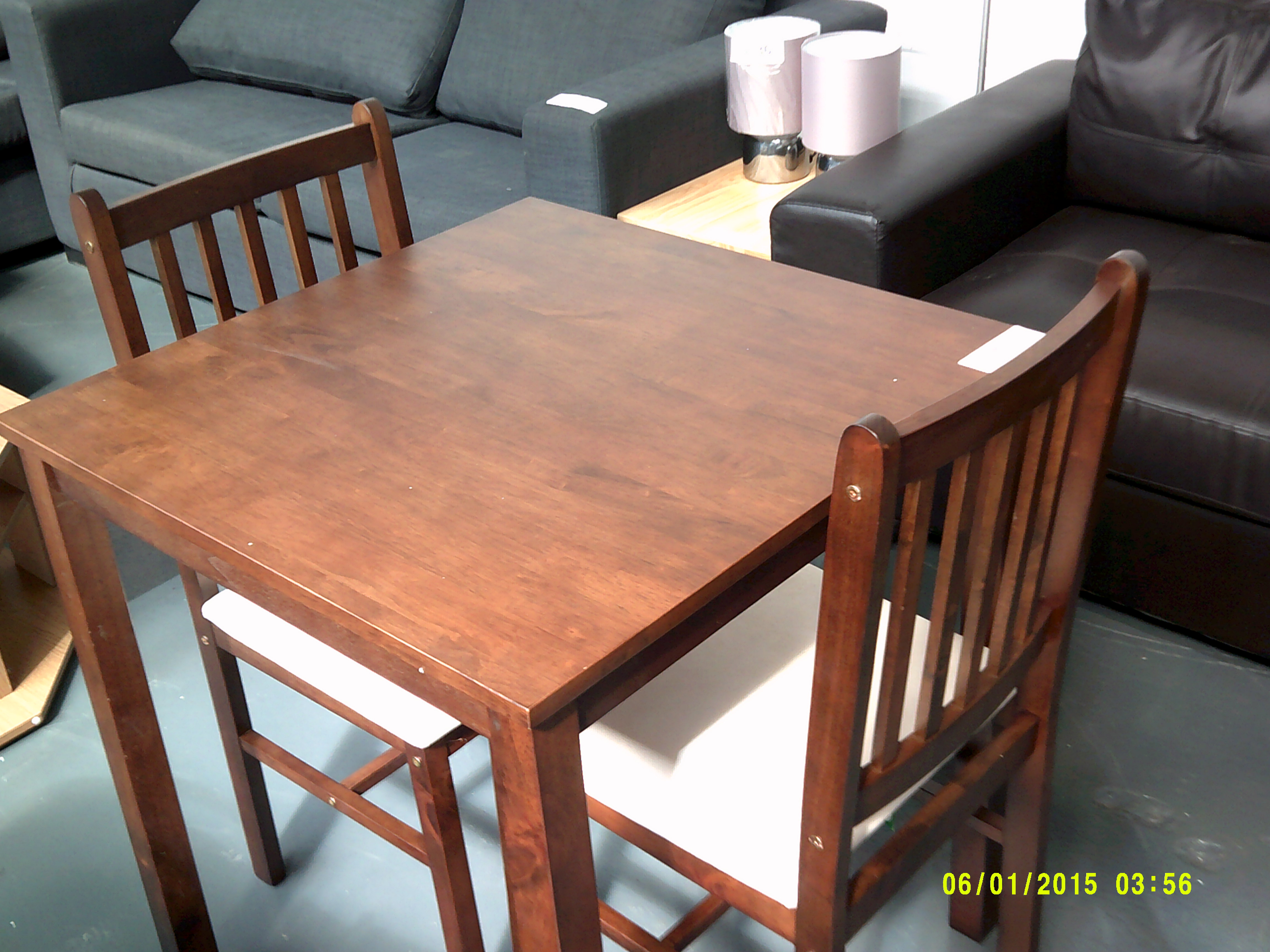Lot 33 - Small Dark Wood Table & 2 Chairs Customer Returns