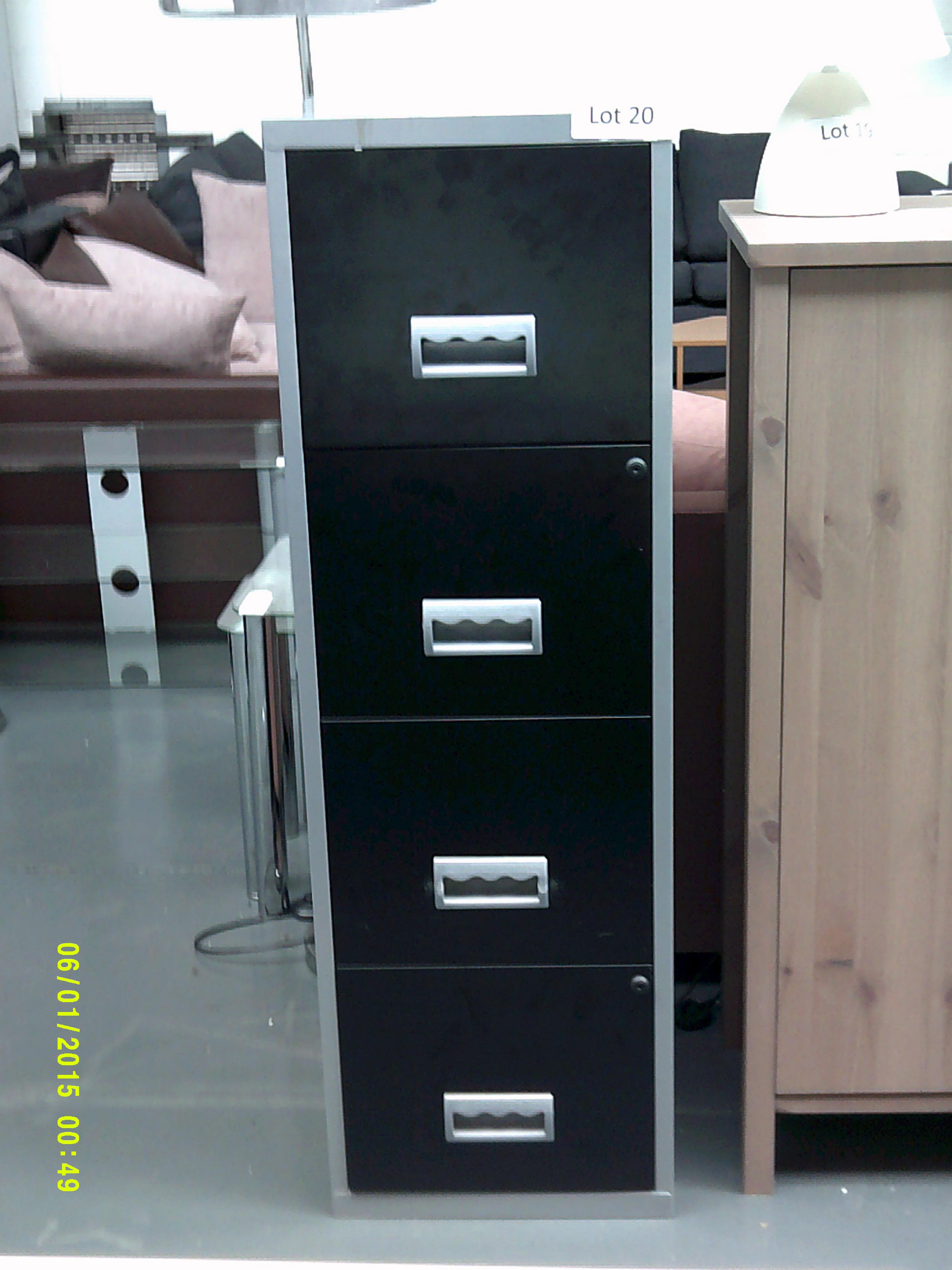 Lot 20 - Black & Grey 4 Drawer Filming Cabinet Customer Returns
