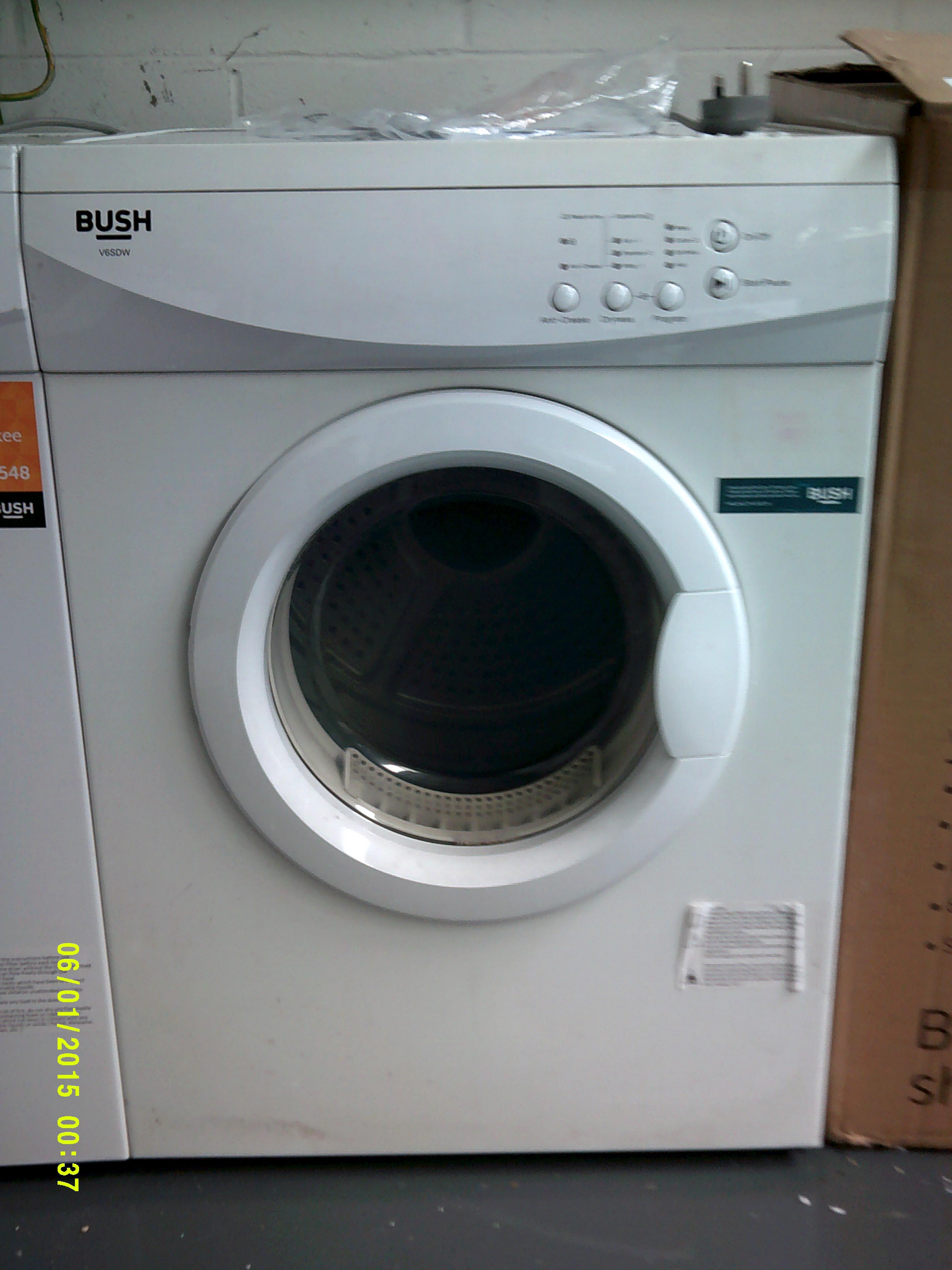 Lot 2 - Bush 6KG Tumble Dryer. Model Number V6DSW ORP £150 Customer Returns