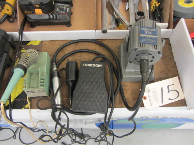 Lot 15 - Foredom TBH Grinder with Foot Actuator, Weller Soldering Station