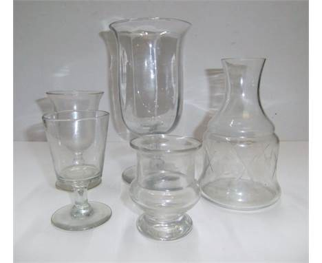 Small collection of Victorian glassware including a large rummer style glass and a carafe etc