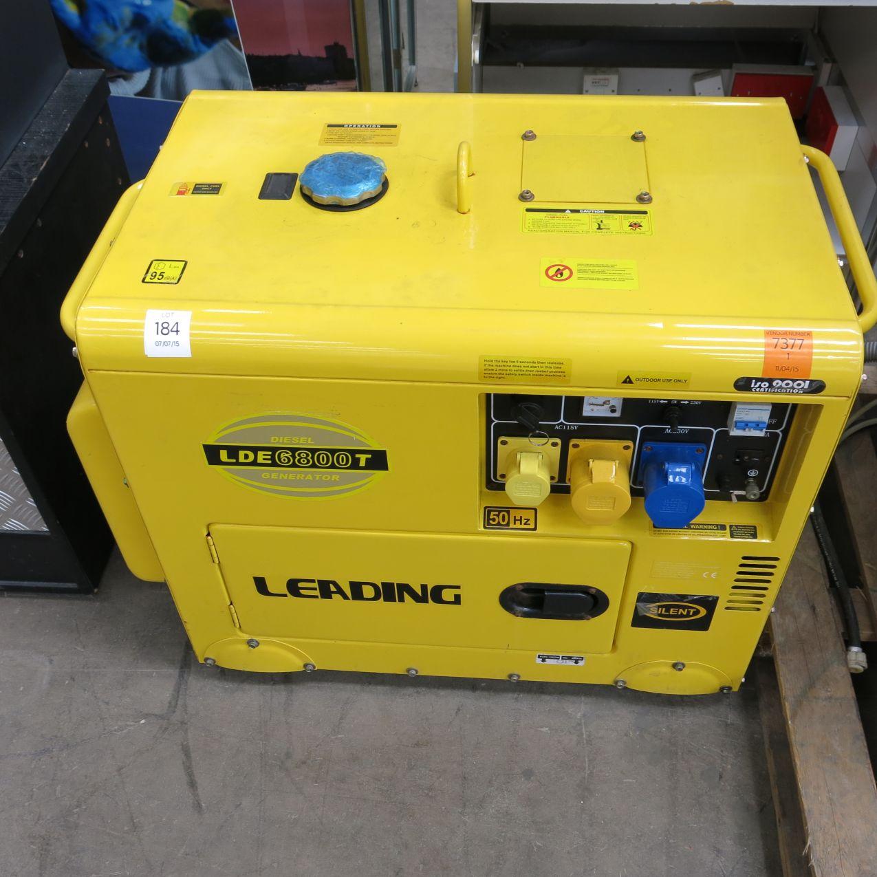 Lot 184 - A leading diesel LDE6800T generator, rated power 4.5-5 KVA,