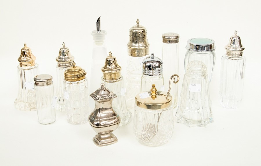 Lot 10 - Seven plated collars/caps, sugar sifters, two travelling case jars, preserve jar, pepperette, oil/