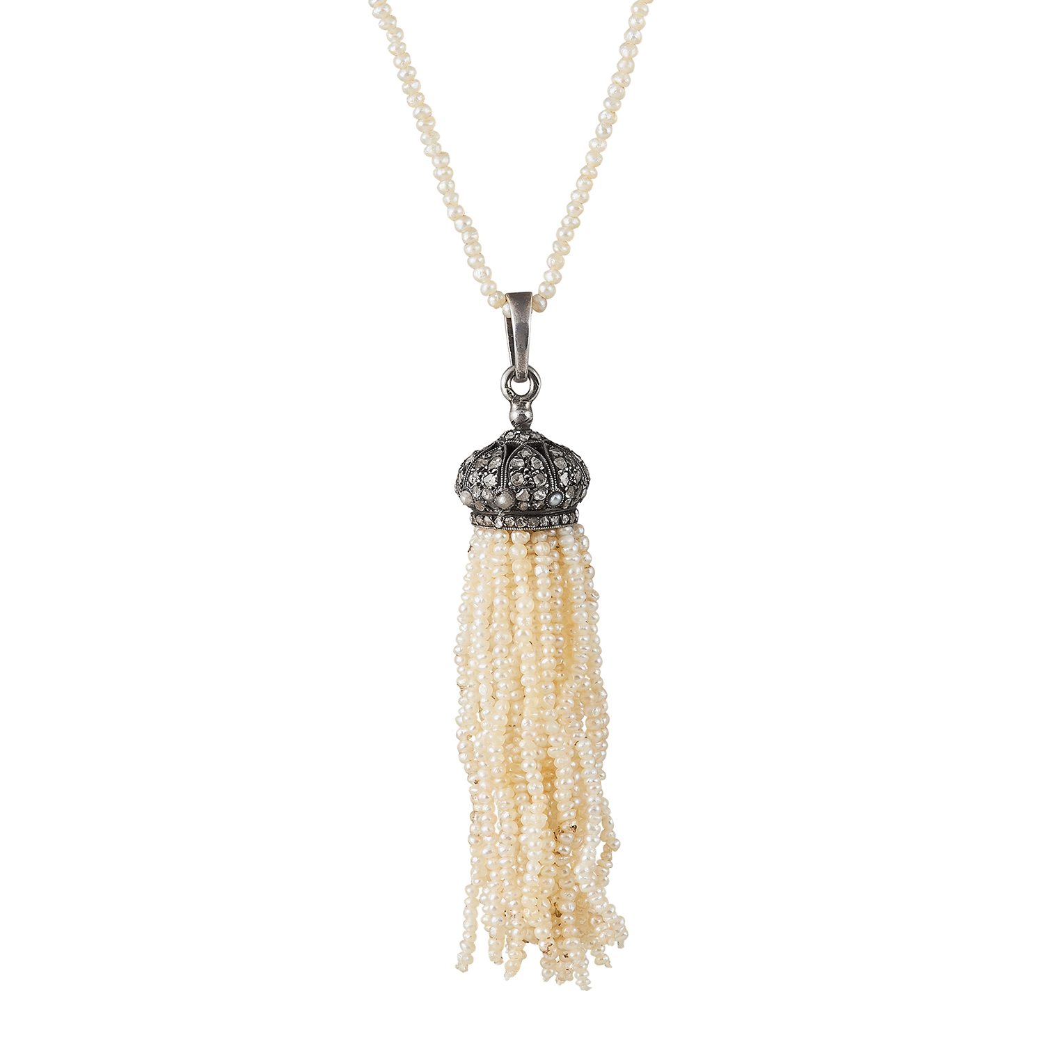ANTIQUE NATURAL PEARL, DIAMOND AND SAPPHIRE TASSEL NECKLACE AND PENDANT comprising of a natural - Bild 2 aus 2