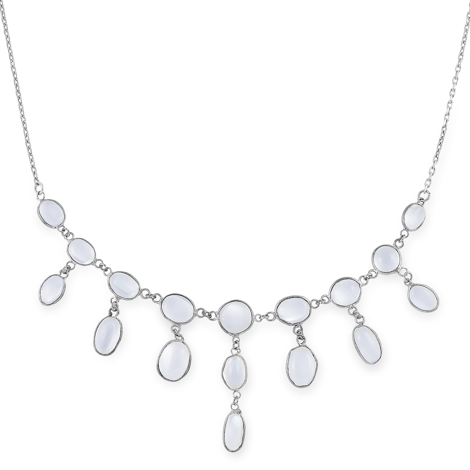 MOONSTONE NECKLACE set with cabochon moonstones, 48cm, 7.5g.