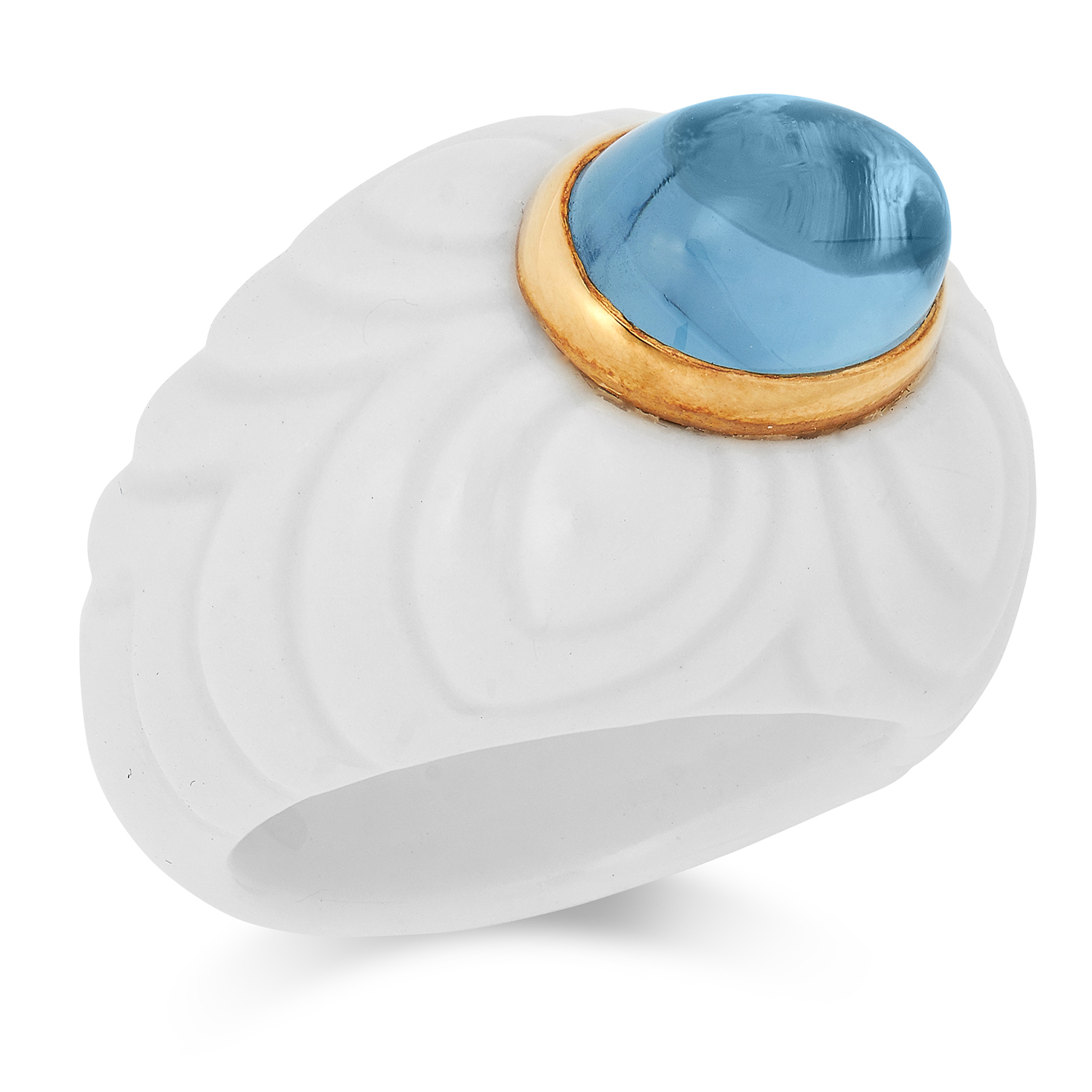 TOPAZ CHANDRA RING, BULGARI with a cabochon topaz on a ceramic band, size L / 5.5, 10.5g.
