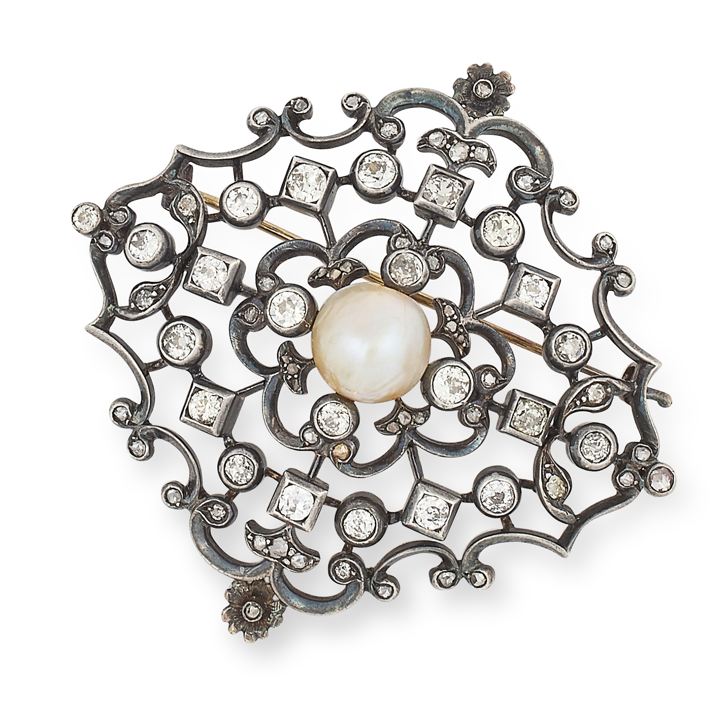 Los 50 - ANTIQUE NATURAL PEARL AND DIAMOND BROOCH comprising of a pearl in an open border set with old and
