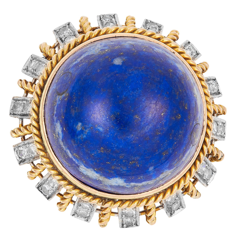VINTAGE LAPIS LAZULI AND DIAMOND RING set with a circular lapis lazuli cabochon of 29.69 carats