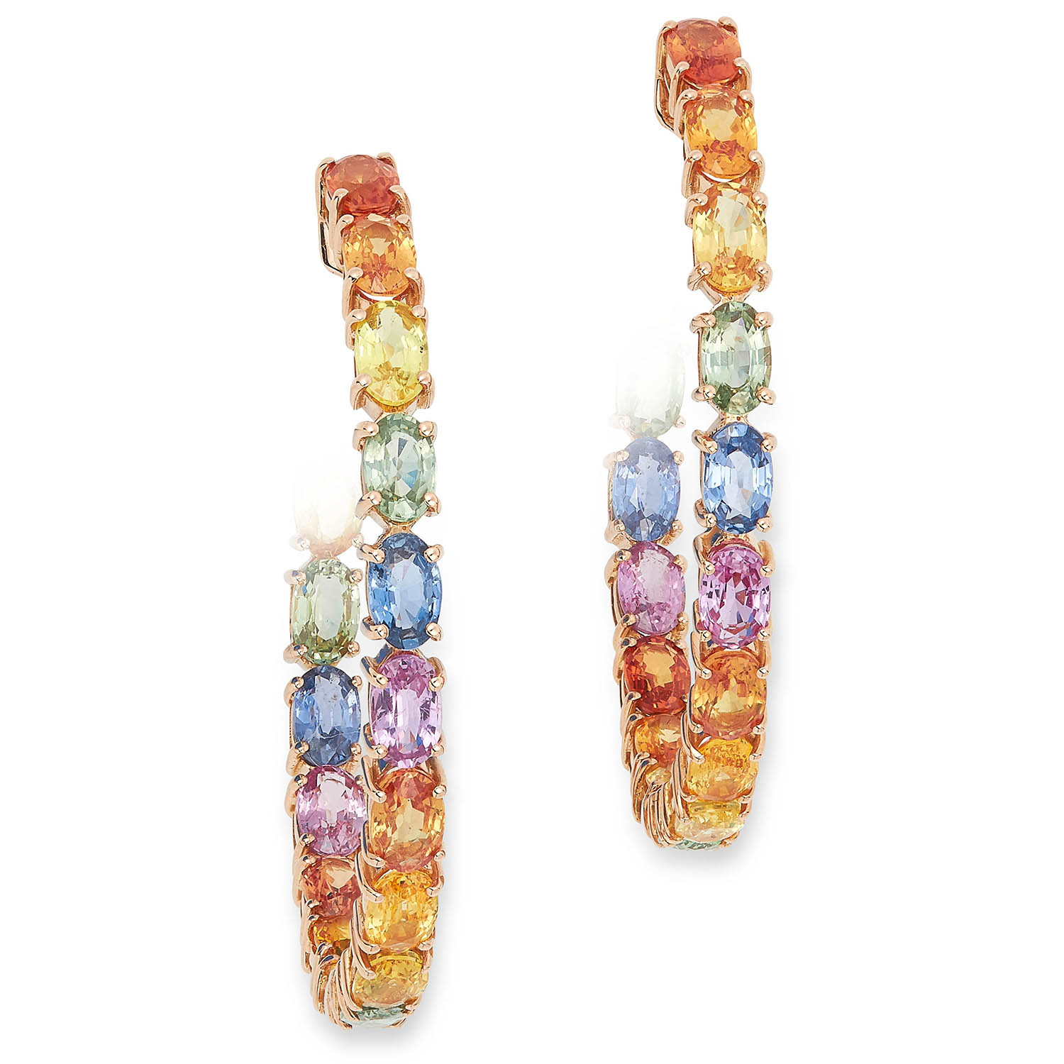 MULTICOLOUR SAPPHIRE HOOP EARRINGS set with multicolour oval cut sapphires, 4cm, 10.8g.