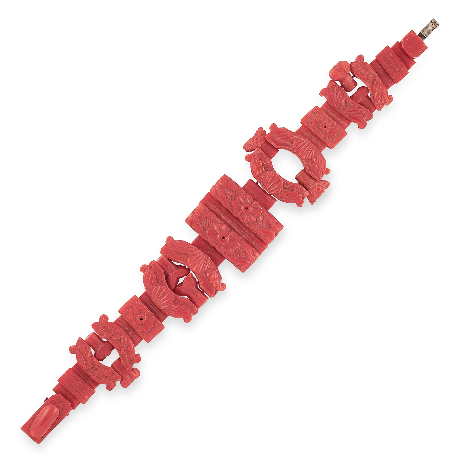 ANTIQUE CARVED CORAL BRACELET, ITALIAN CIRCA 1860 formed of various carved links with floral and