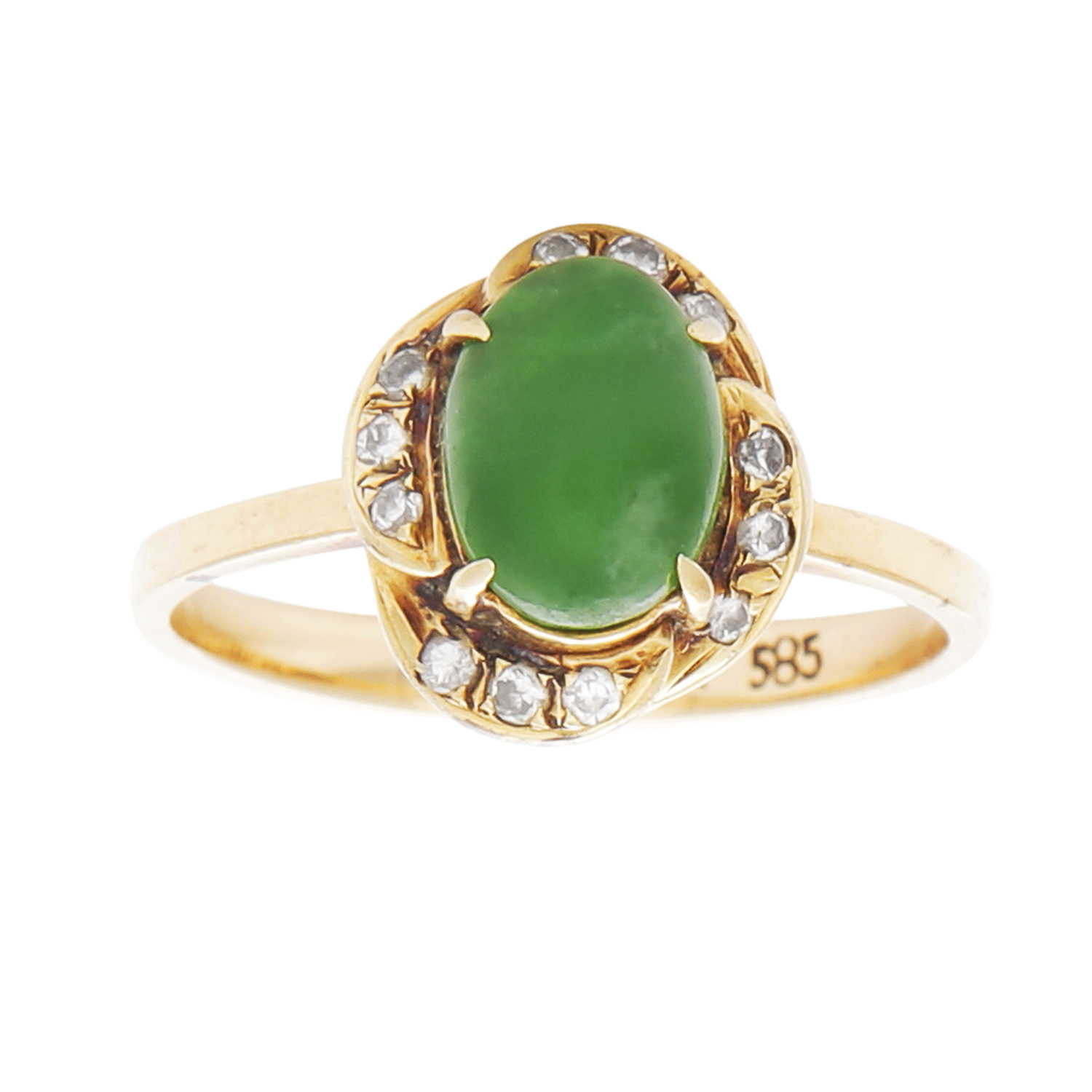 Los 8 - JADEITE JADE AND DIAMOND RING the oval jade cabochon within a stylised diamond border, size L / 5.