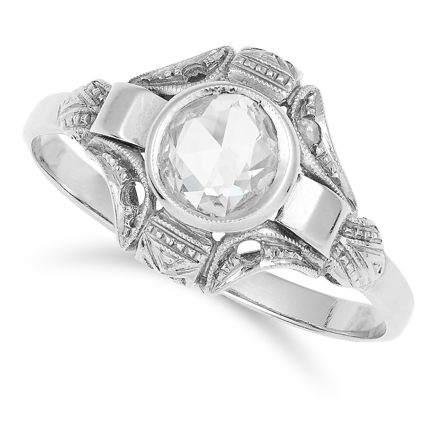 DIAMOND DRESS RING in Art Deco style, set with a rose cut diamond, size P / 7.5, 2.0g.