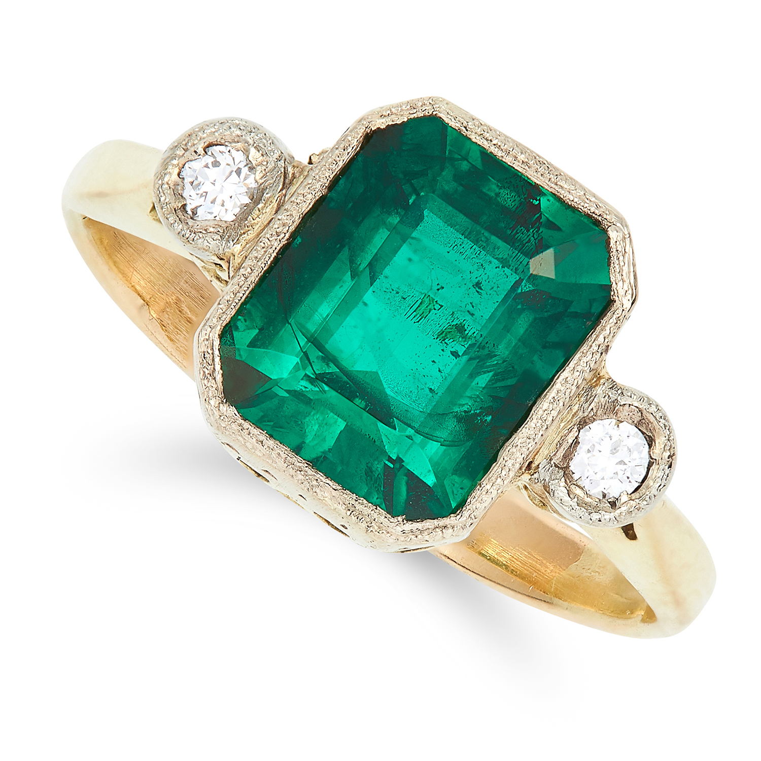 ANTIQUE SYNTHETIC EMERALD AND DIAMOND RING set with an emerald cut synthetic emerald and round cut