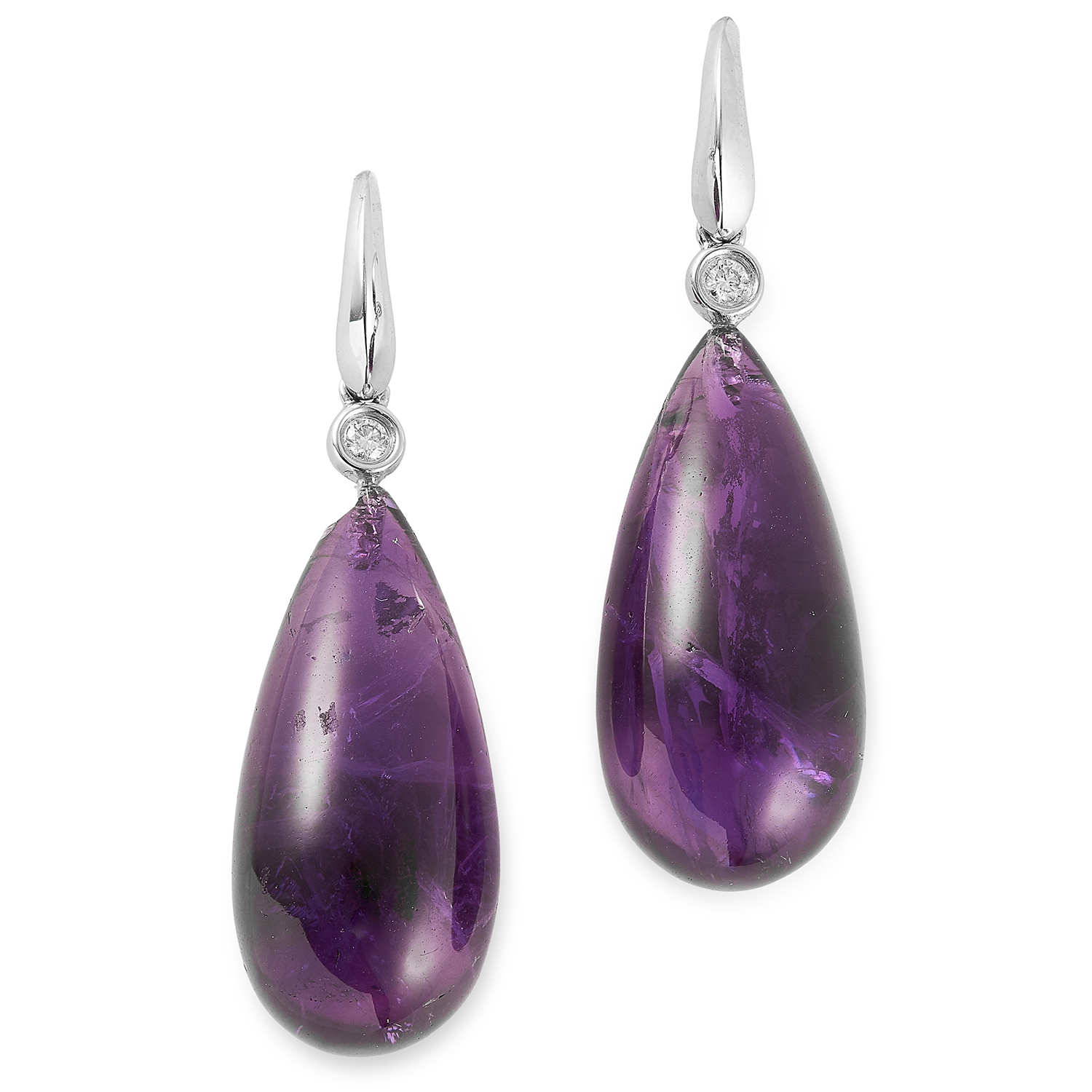 Los 33 - AMETHYST AND DIAMOND DROP EARRINGS set with polished amethyst drops and round cut diamonds, 4cm,