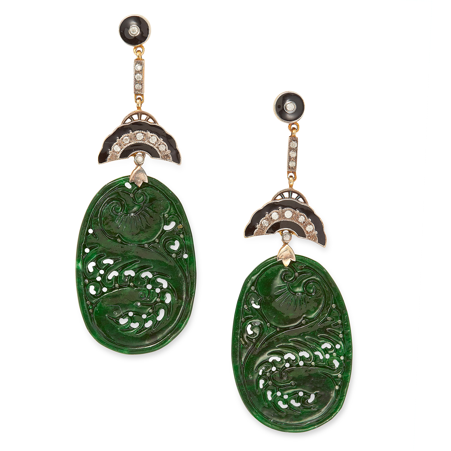 JADE, ONYX AND DIAMOND EARRINGS in Art Deco design set with carved jade plaques, round cut