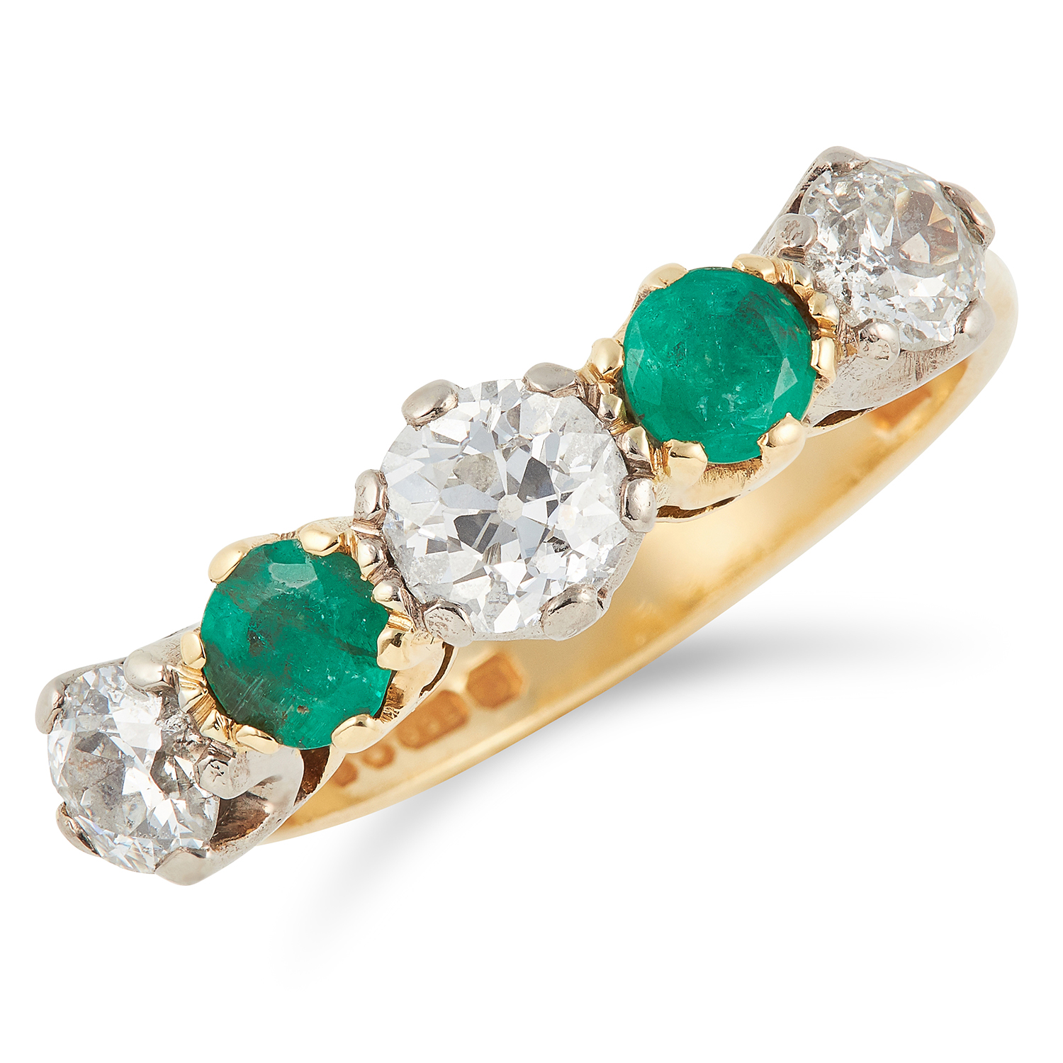 DIAMOND AND EMERALD FIVE STONE RING set with round cut diamonds and round cut emeralds, size N /