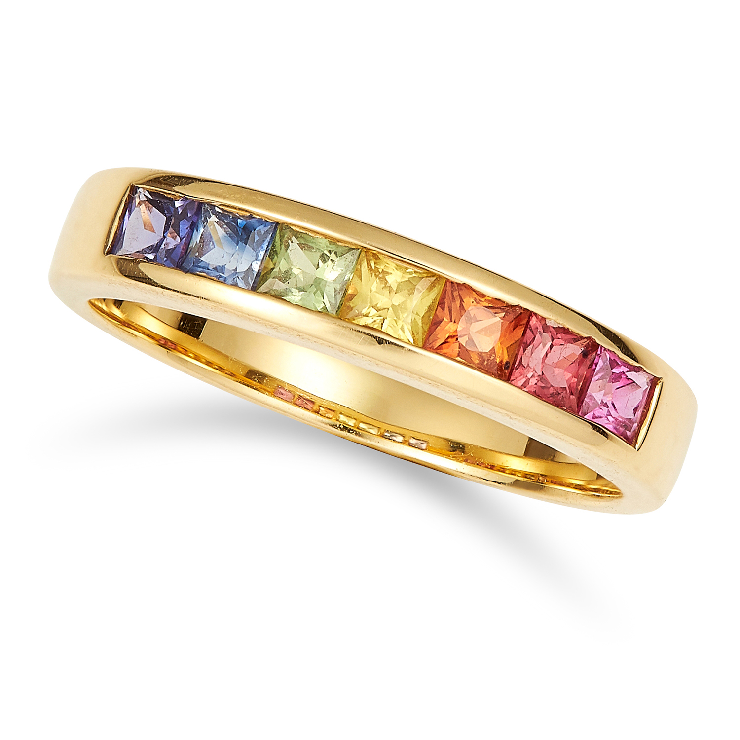COLOURED SAPPHIRE RING set with square cut multi colour sapphires, size M / 6, 3.9g.