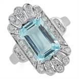 AQUAMARINE AND DIAMOND DRESS RING, in Art Deco style set with a fancy cut aquamarine and round cut