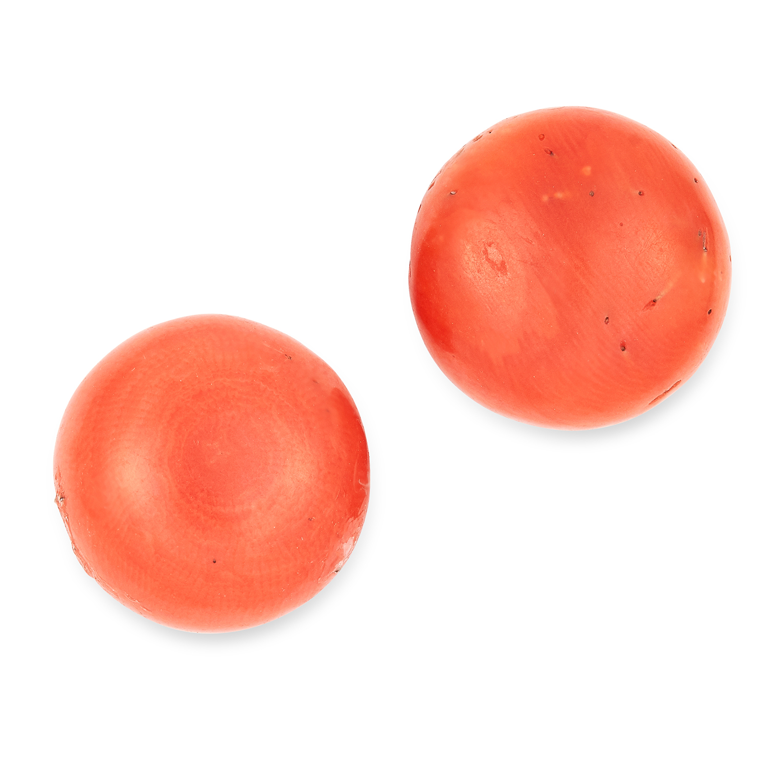 LARGE ANTIQUE CORAL BEAD STUD EARRINGS set with circular coral beads, 1.4cm, 4.6g.