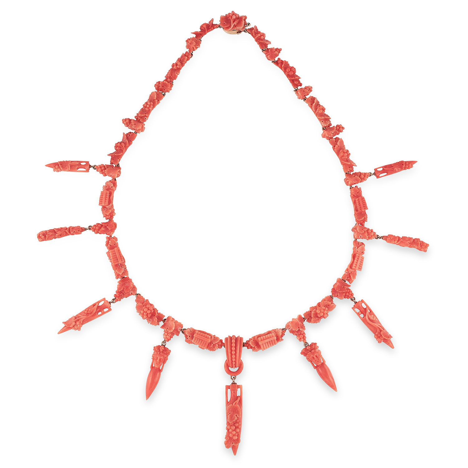 ANTIQUE CARVED CORAL NECKLACE, ITALIAN, 19TH CENTURY formed of carved links decorated with grapes,