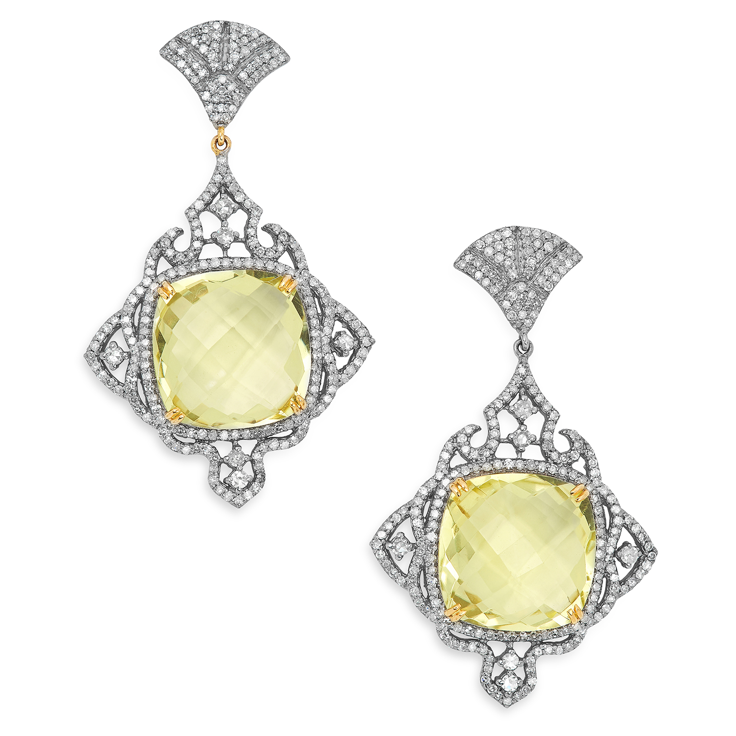LEMON QUARTS AND DIAMOND EARRINGS each set with a faceted lemon quartz in a border of round cut