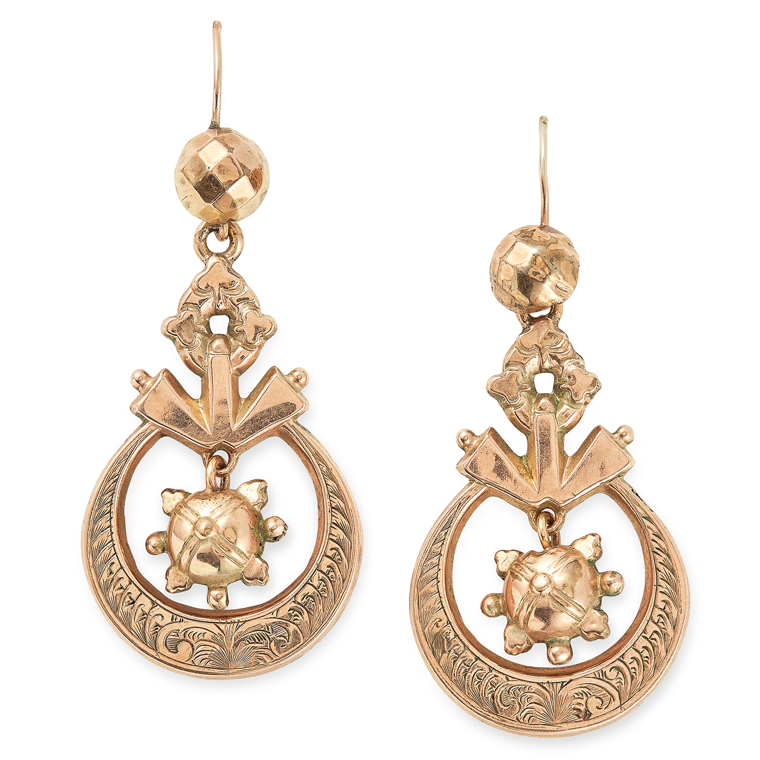 Los 18 - ANTIQUE ARTICULATED GOLD EARRINGS with an articulated star motif, 5cm, 4.2g.