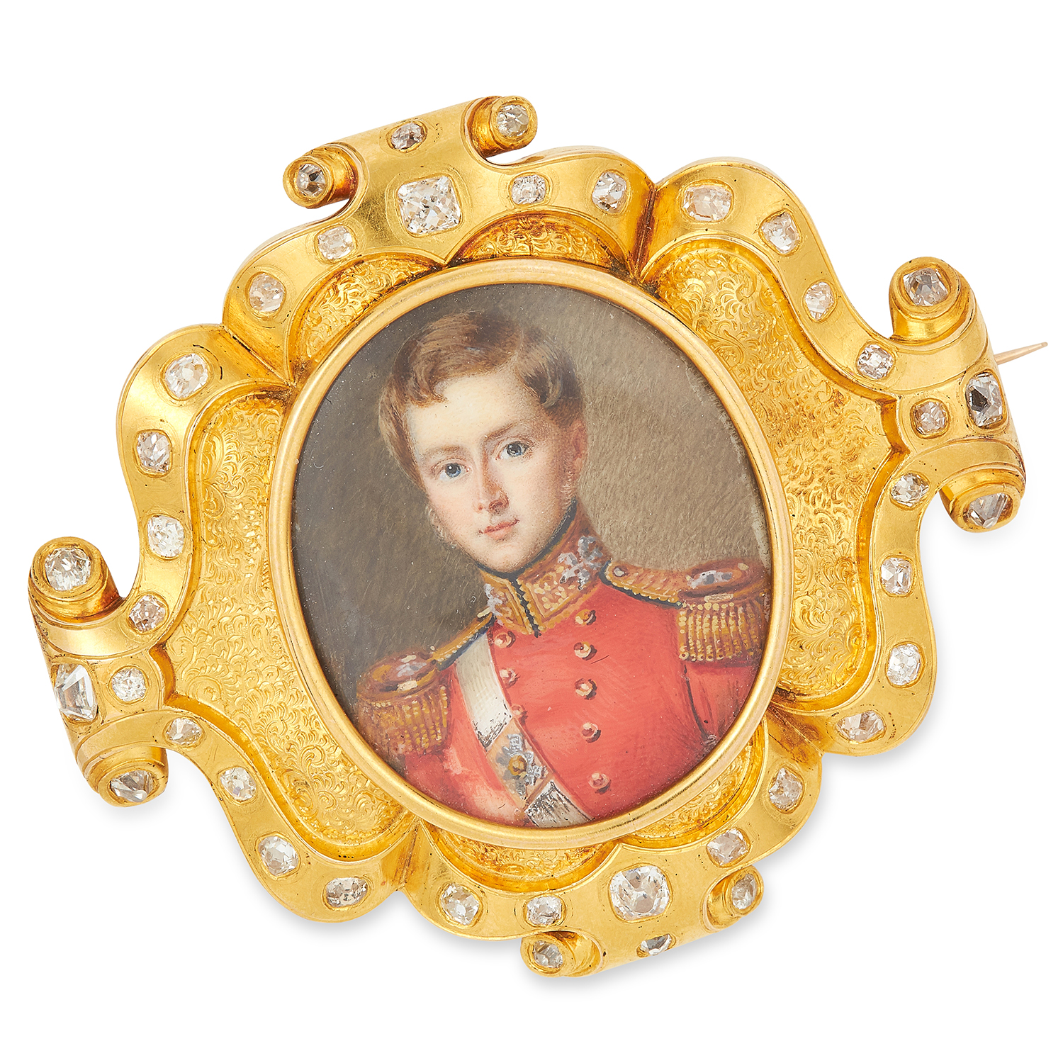Los 199 - ANTIQUE DIAMOND PAINTED MINIATURE BROOCH comprising of a miniature of a gentleman in regimental