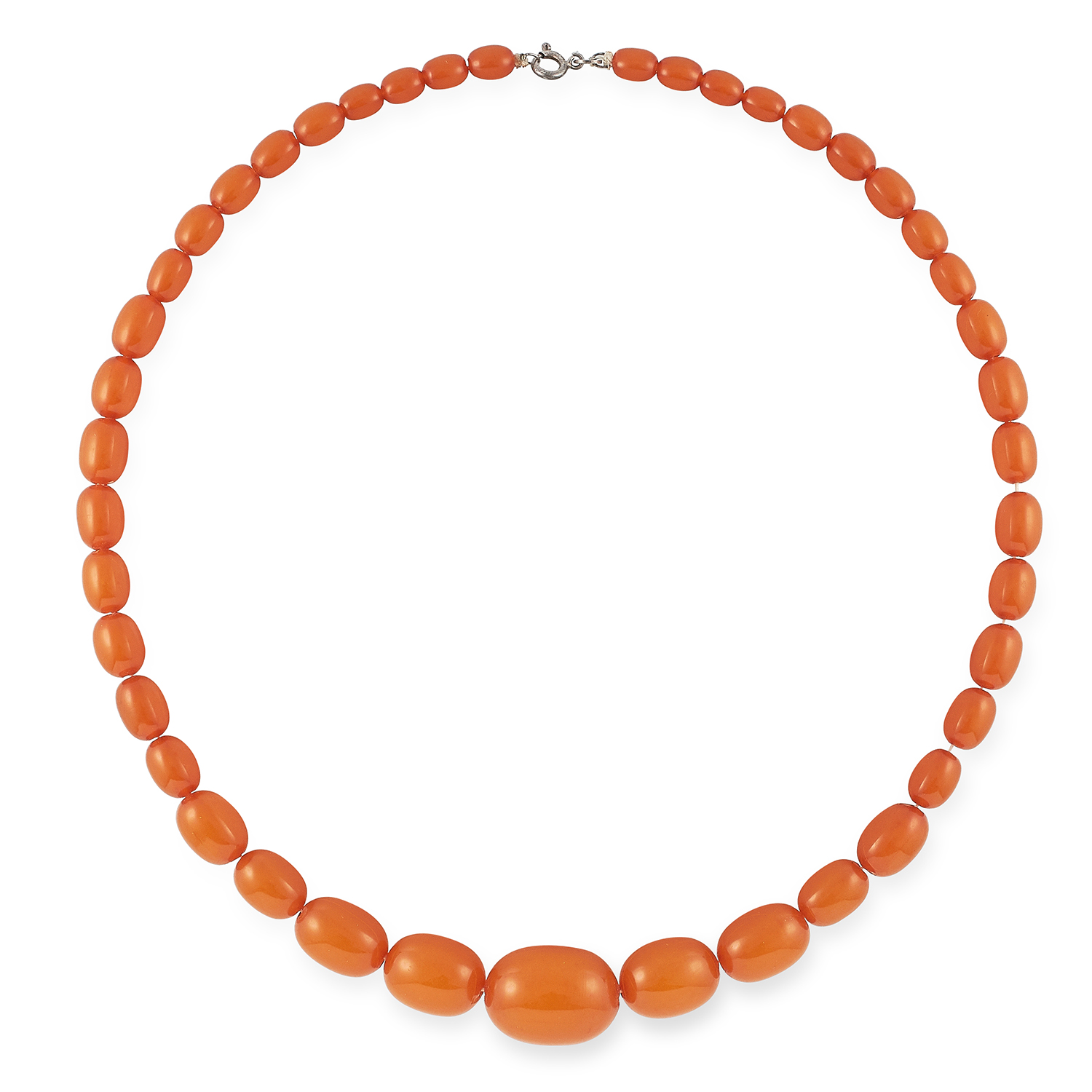 Los 12 - BUTTERSCOTCH AMBER BEAD NECKLACE set with polished amber beads, 46cm, 19.8g.