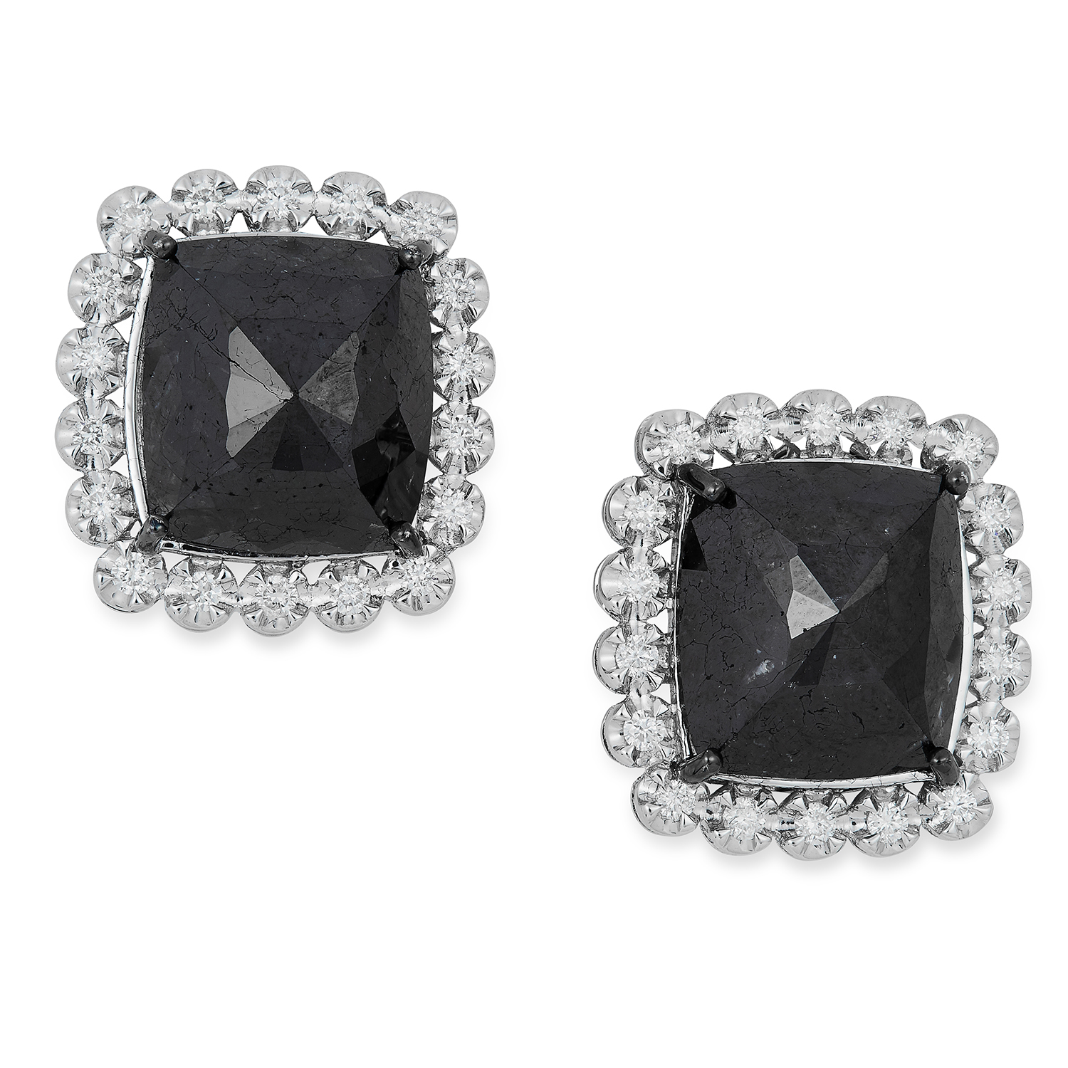 BLACK DIAMOND CLUSTER EARRINGS each set with a faceted black diamond in a border of round cut