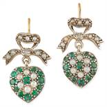 EMERALD AND PEARL SWEETHEART EARRINGS in ribbon and heart motif set with round cut emeralds and