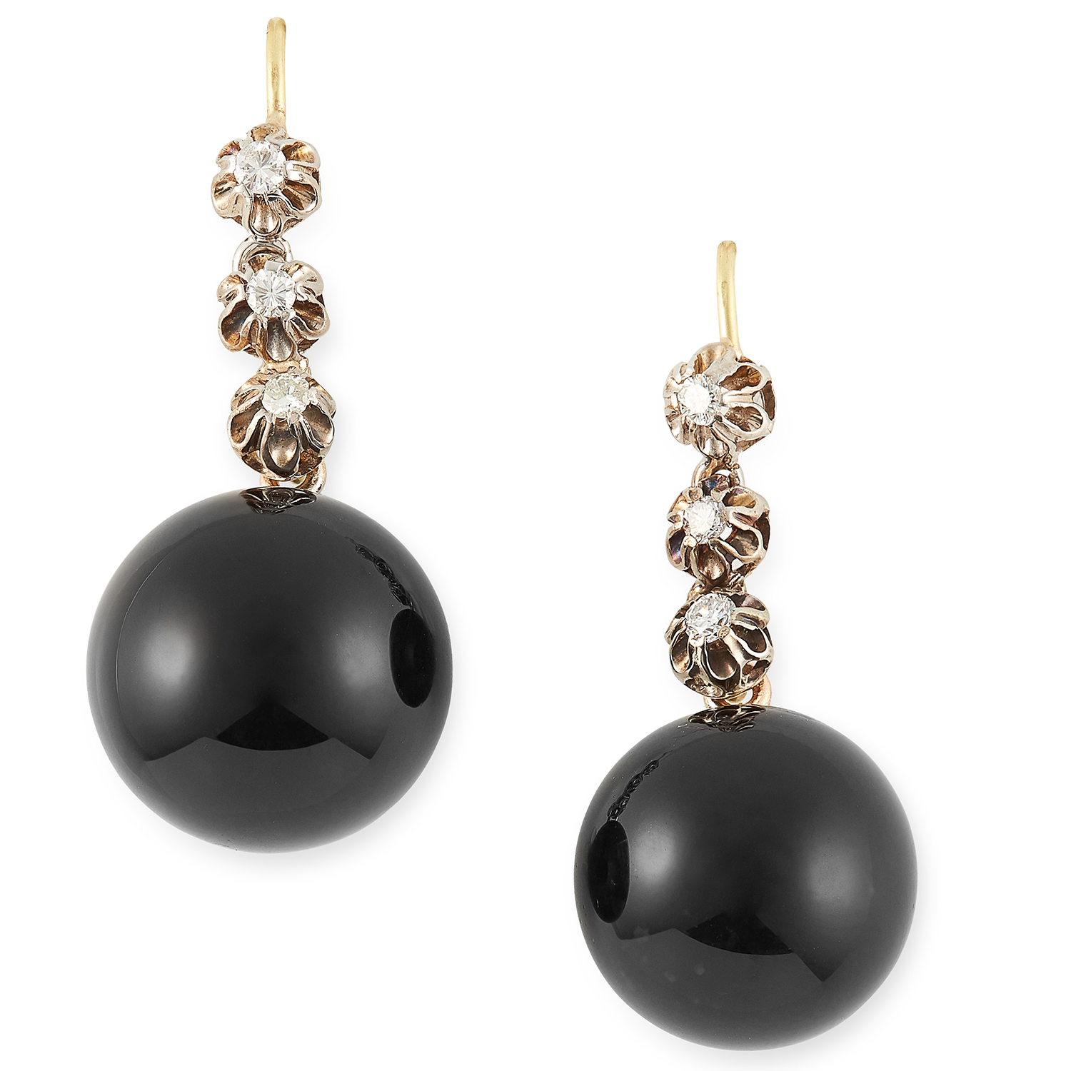 ONYX AND DIAMOND EARRINGS set with polished onyx drops and round cut diamonds, 3.5cm, 10g.