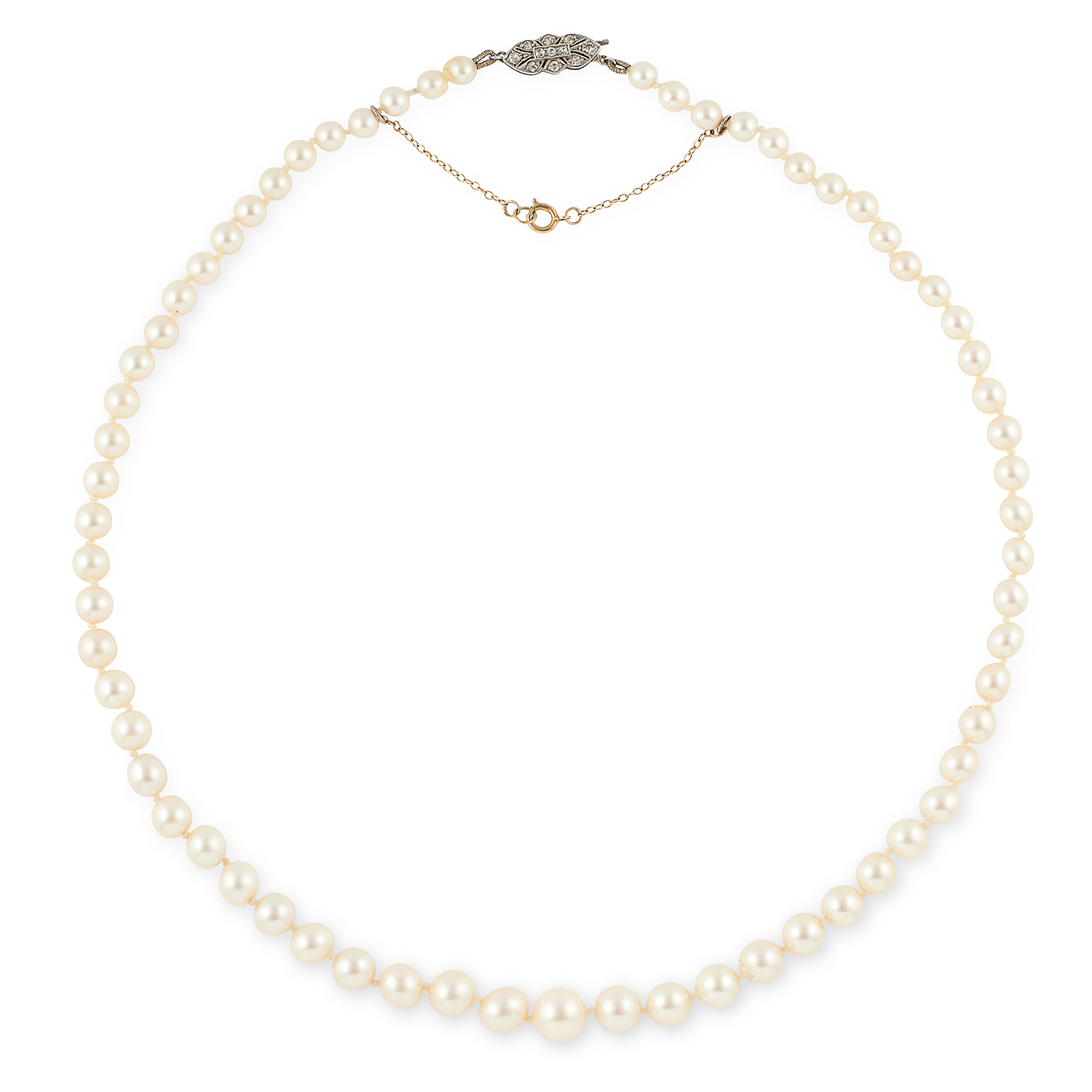 Los 30 - PEARL BEAD NECKLACE comprising of a single row of pearls with diamond set clasp, 48cm, 21.8g.