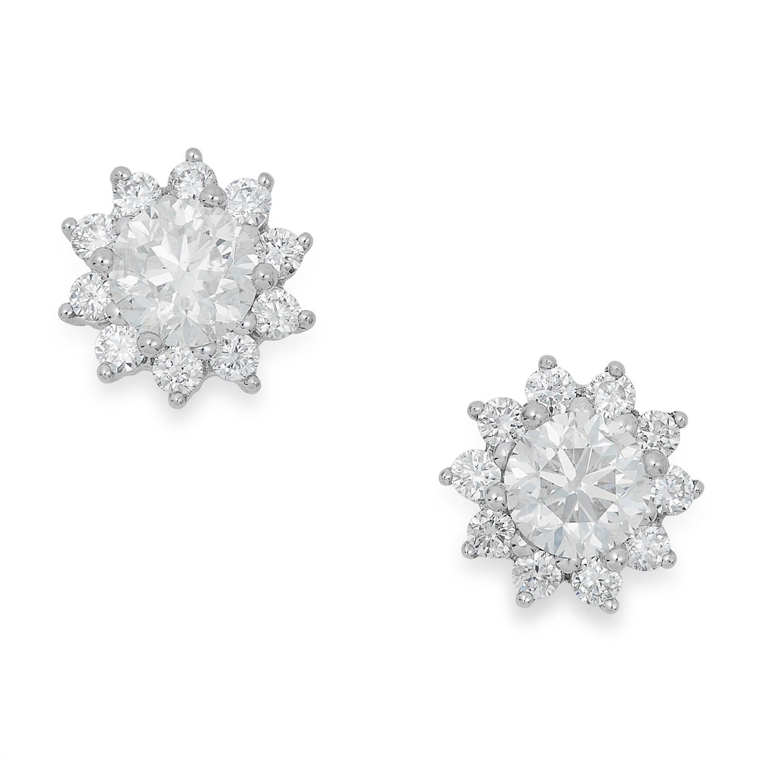 0.98 CARAT DIAMOND STUD EARRINGS each set with a cluster of round cut diamonds, 2.9g.