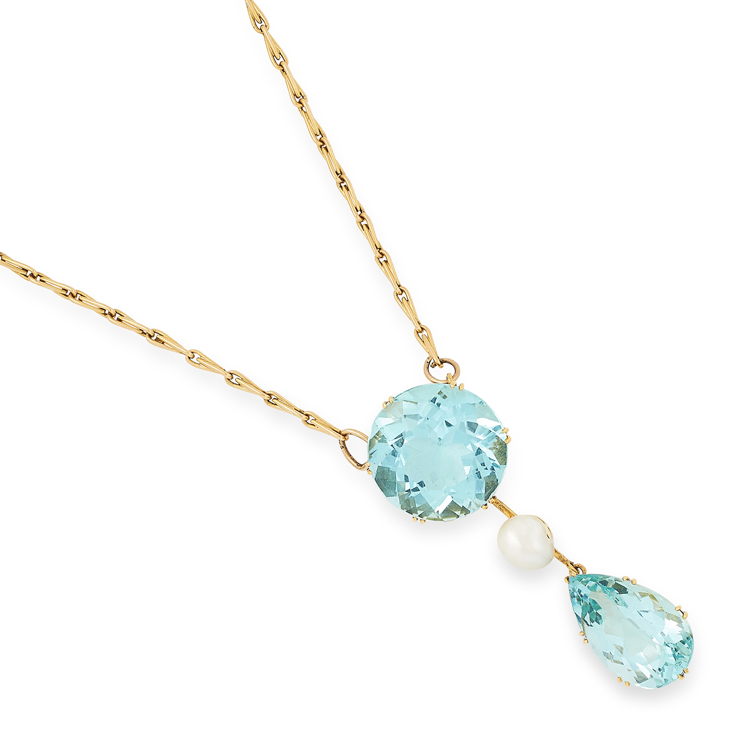 Los 43 - VINTAGE AQUAMARINE AND PEARL PENDANT comprising of a round cut aquamarine suspending a pearl and