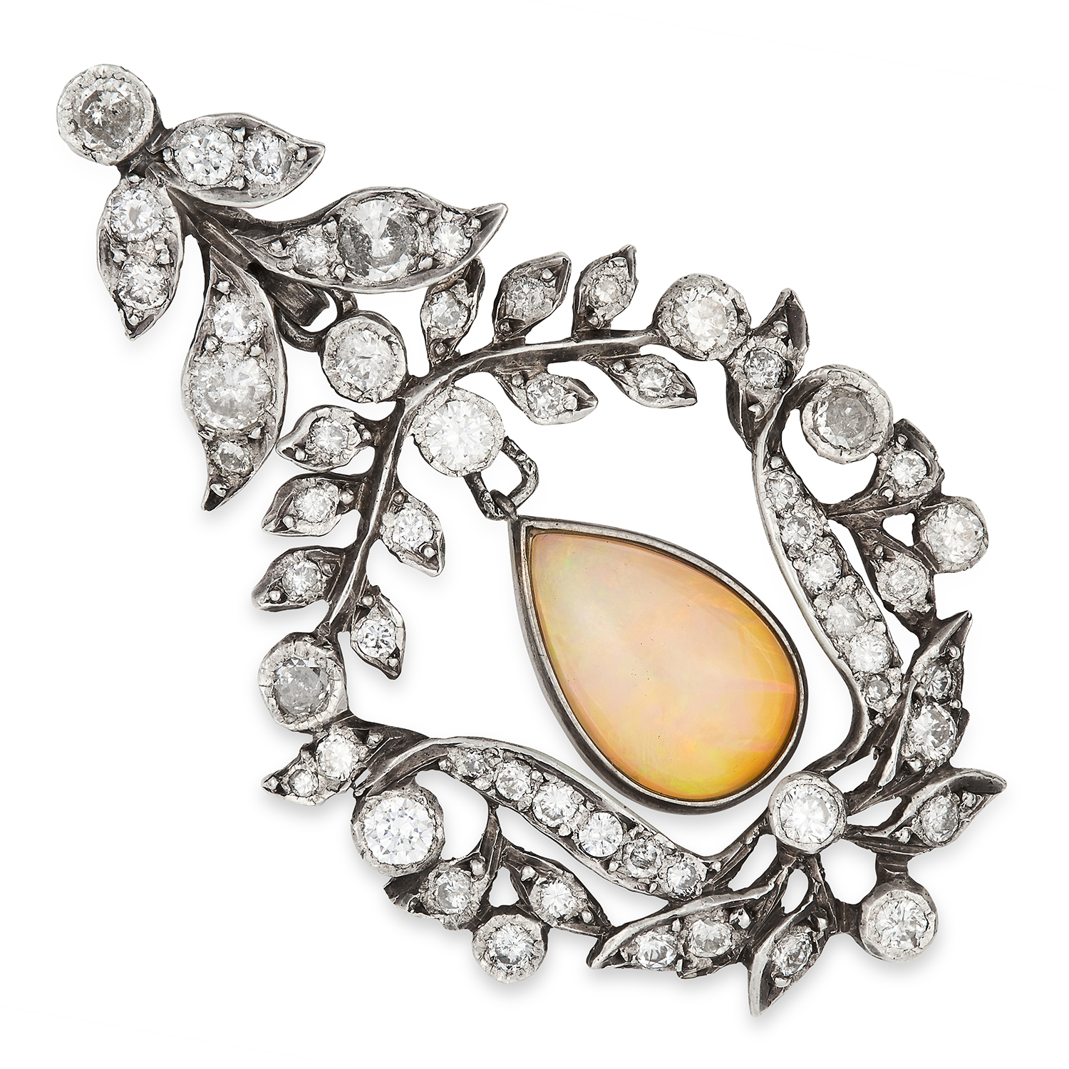 Los 29 - ANTIQUE OPAL AND DIAMOND PENDANT set with a pear cut opal in a foliate border set with round cut